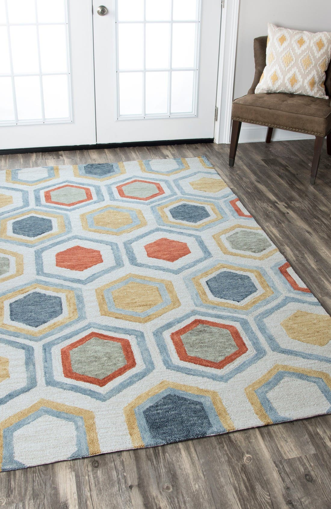 'Lancaster Geometric' Hand Tufted Wool Area Rug,                             Alternate thumbnail 4, color,                             Grey/ Multi