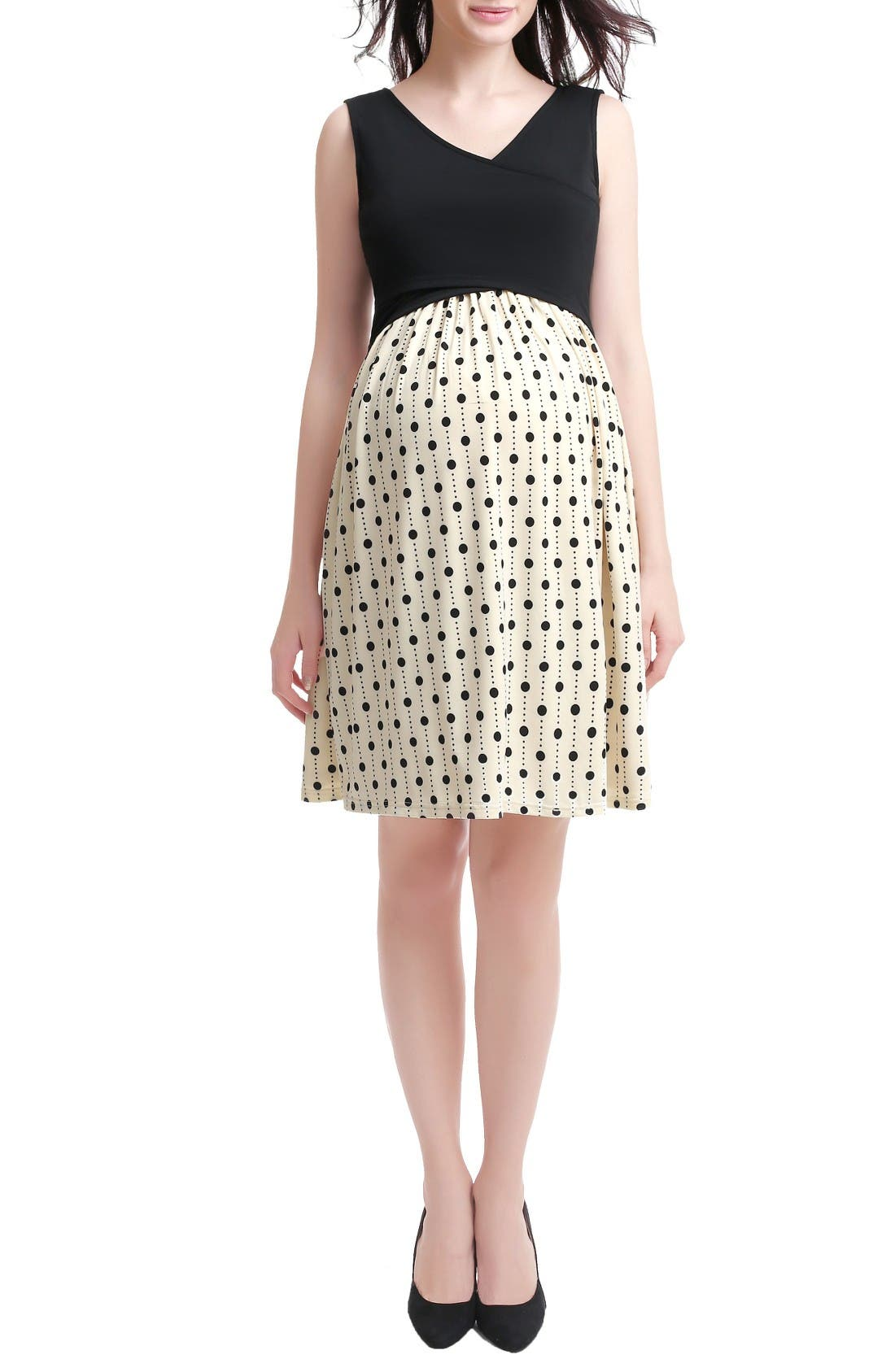Joyce Maternity/Nursing Dress,                         Main,                         color, Black/ Beige