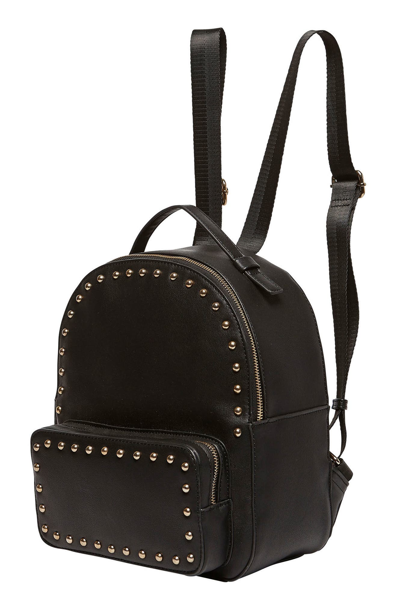 Star Seeker Vegan Leather Backpack,                             Alternate thumbnail 2, color,                             Black