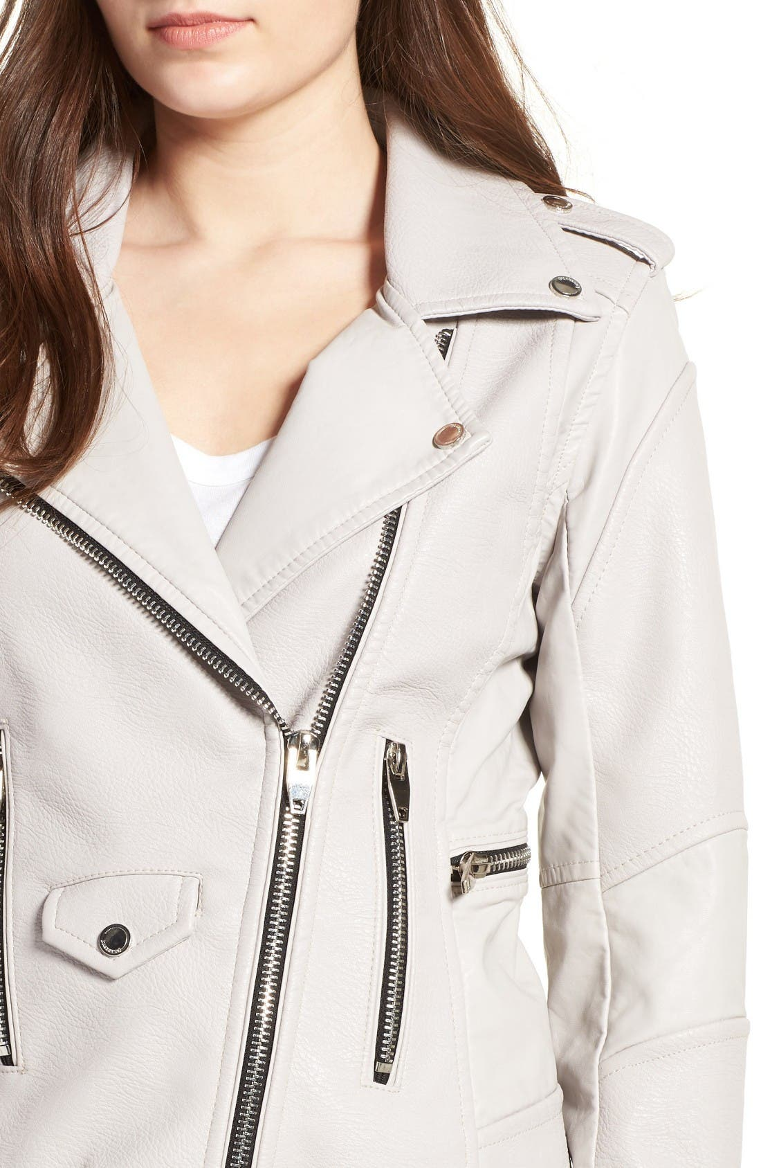 'Easy Rider' Faux Leather Moto Jacket,                             Alternate thumbnail 4, color,                             Bend And Snap Grey