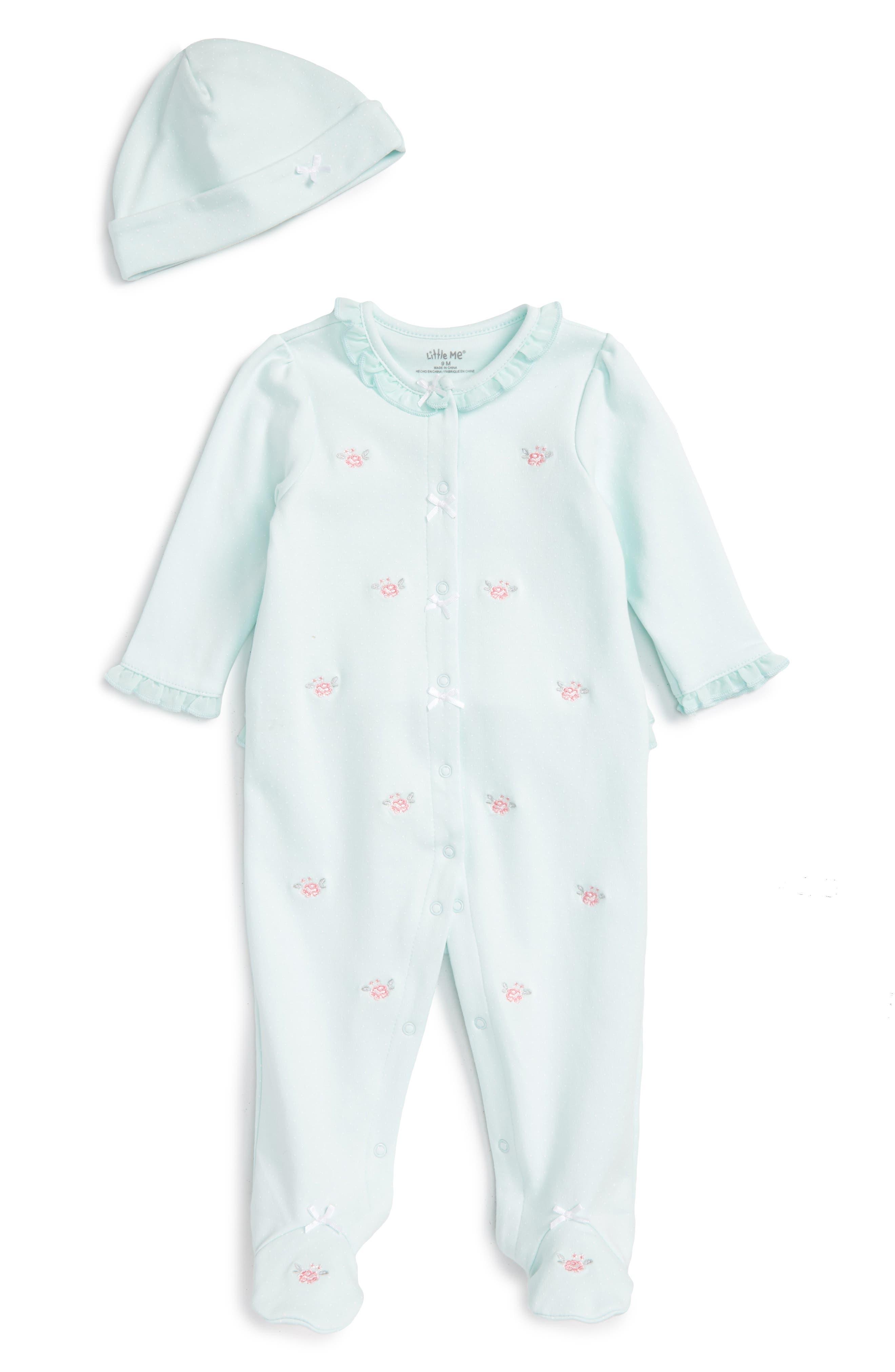 Main Image - Little Me Flower Dot Footie & Hat Set (Baby Girls)