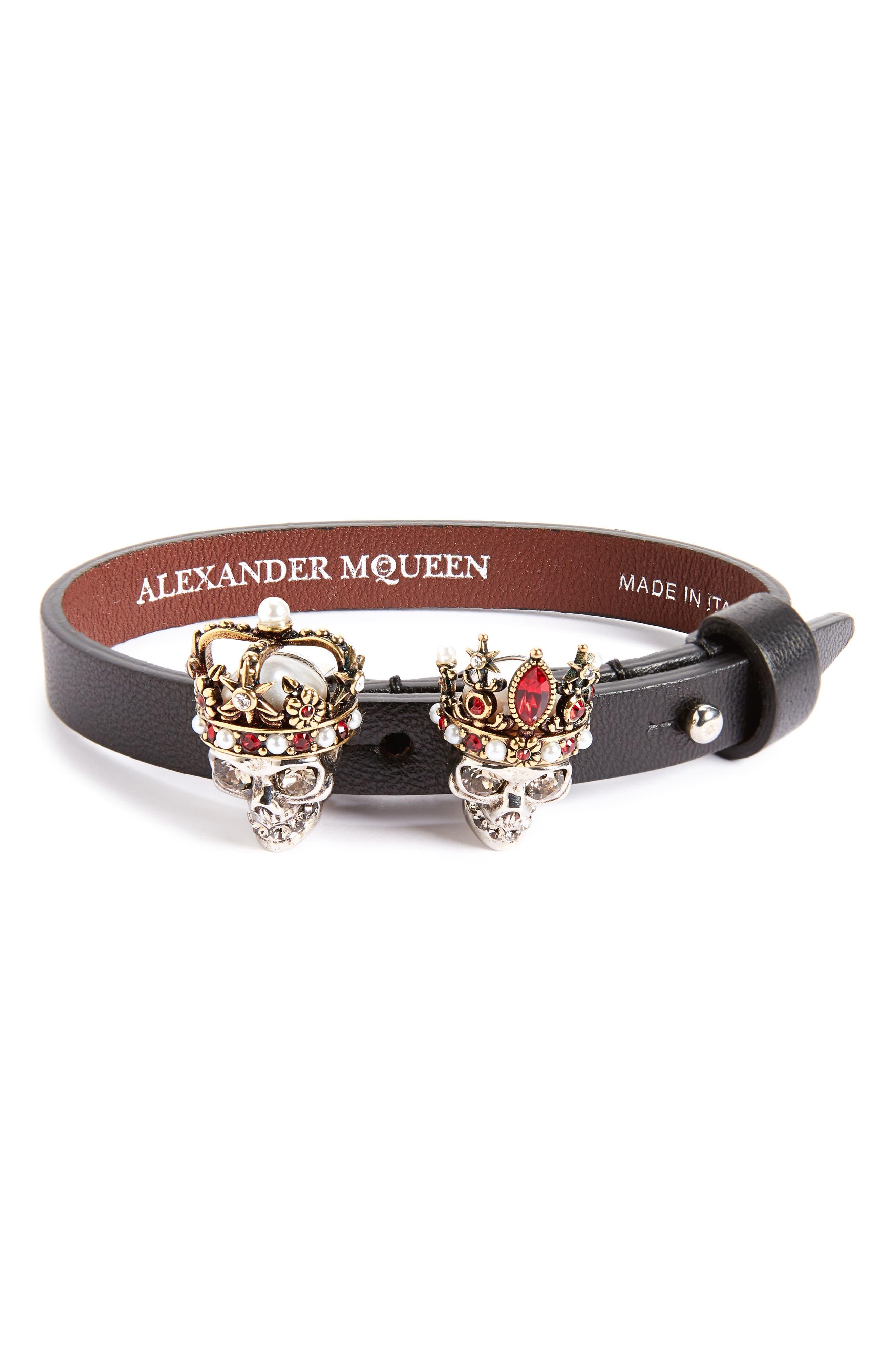 King & Queen Skull Bracelet,                         Main,                         color, Black
