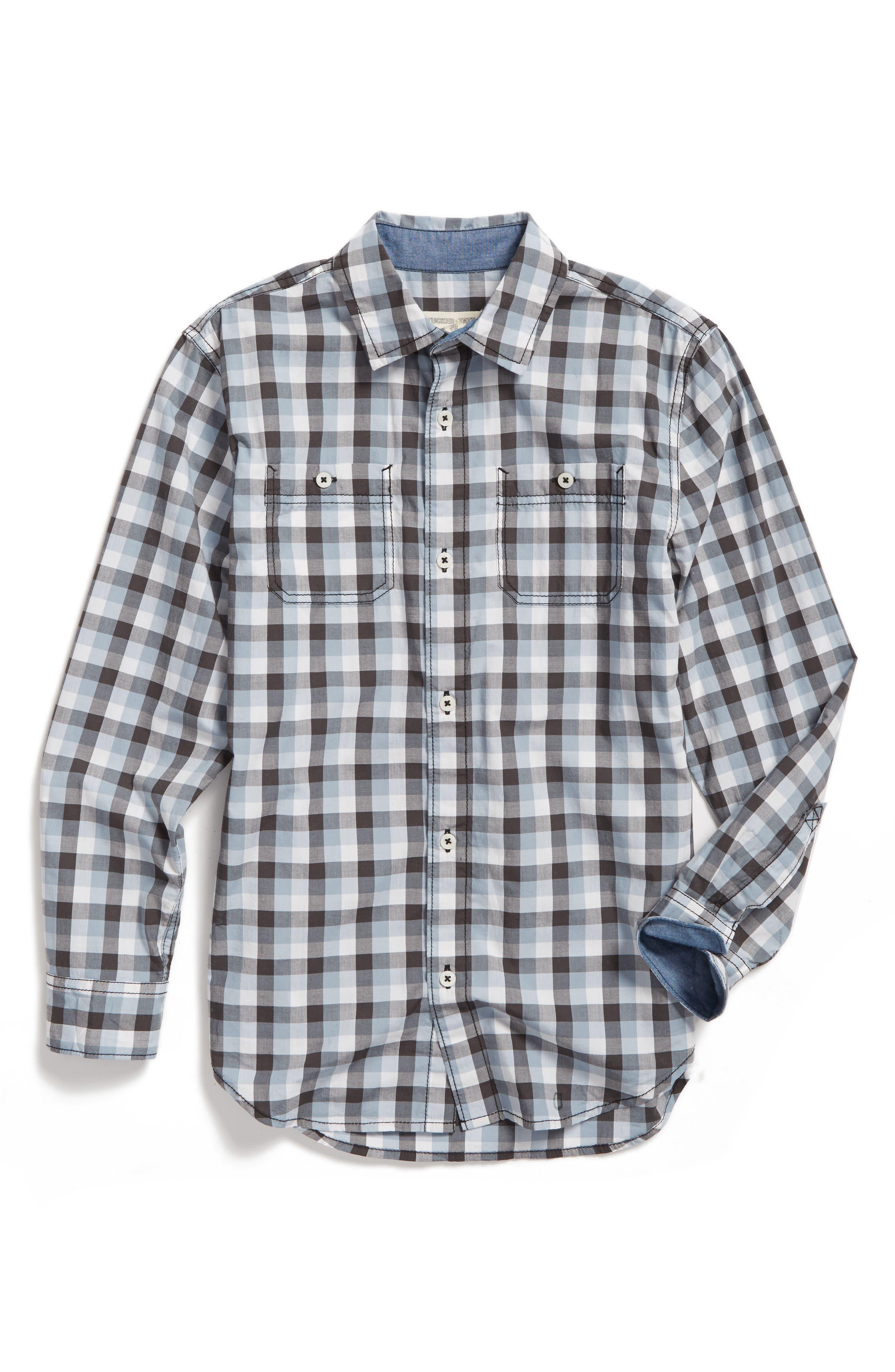 Main Image - Tucker + Tate 'Photo Op' Long Sleeve Cotton Woven Shirt (Big Boys)