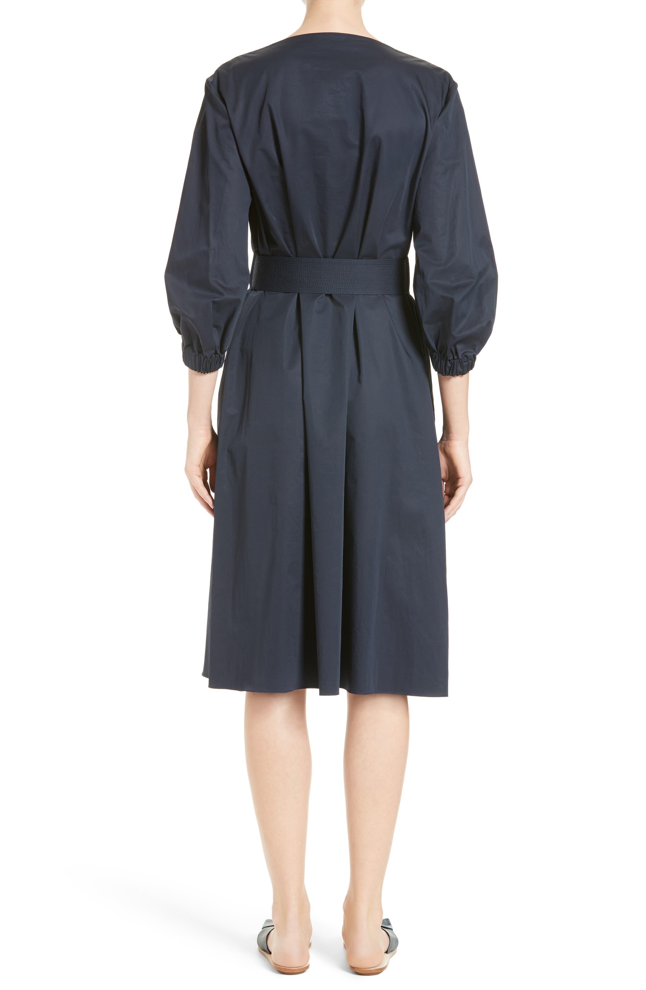 Alternate Image 2  - Tibi Satin Poplin Belted Split Neck Dress