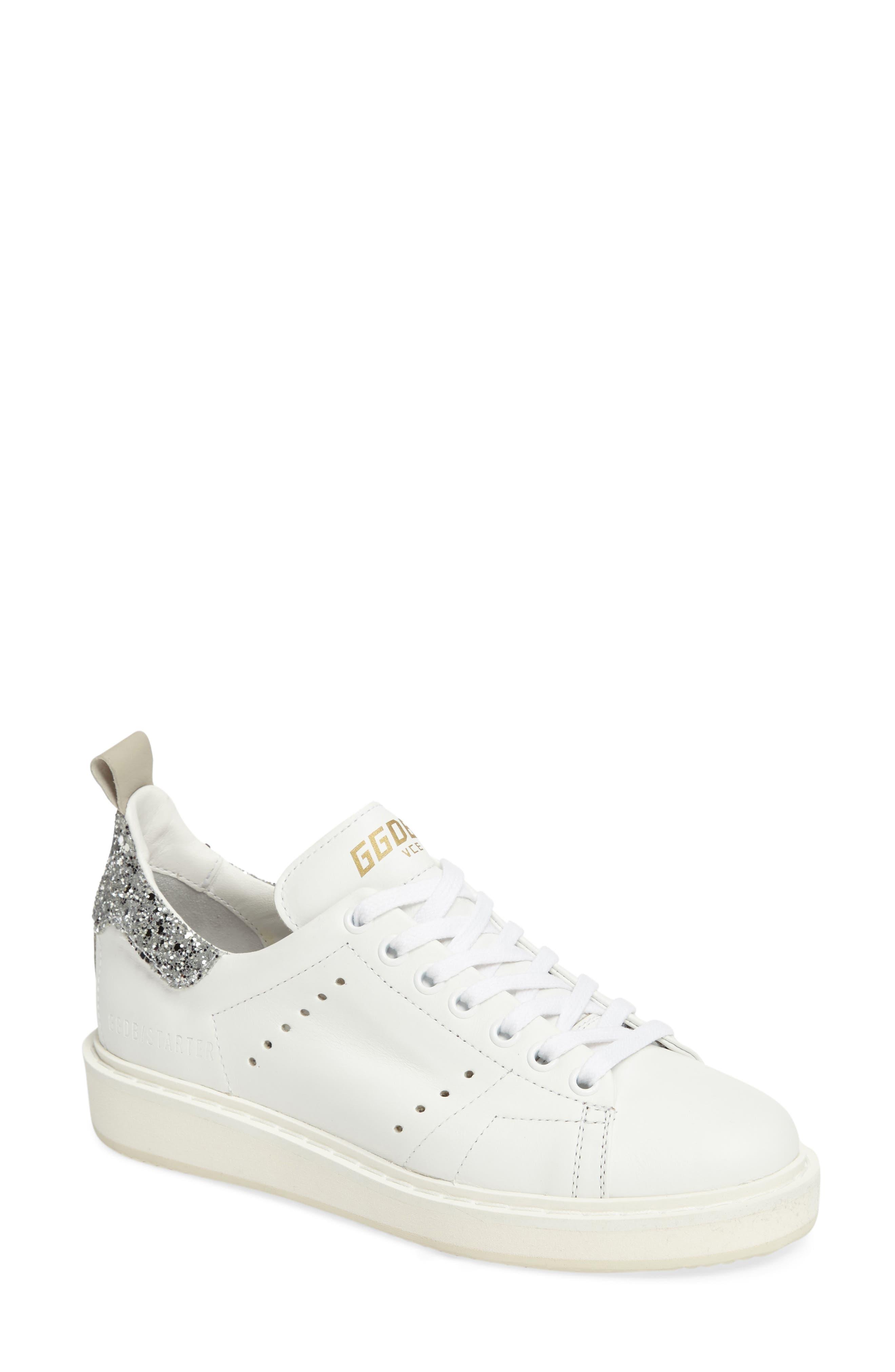 'Starter' Low Top Sneaker,                             Main thumbnail 1, color,                             White/ Silver Glitter