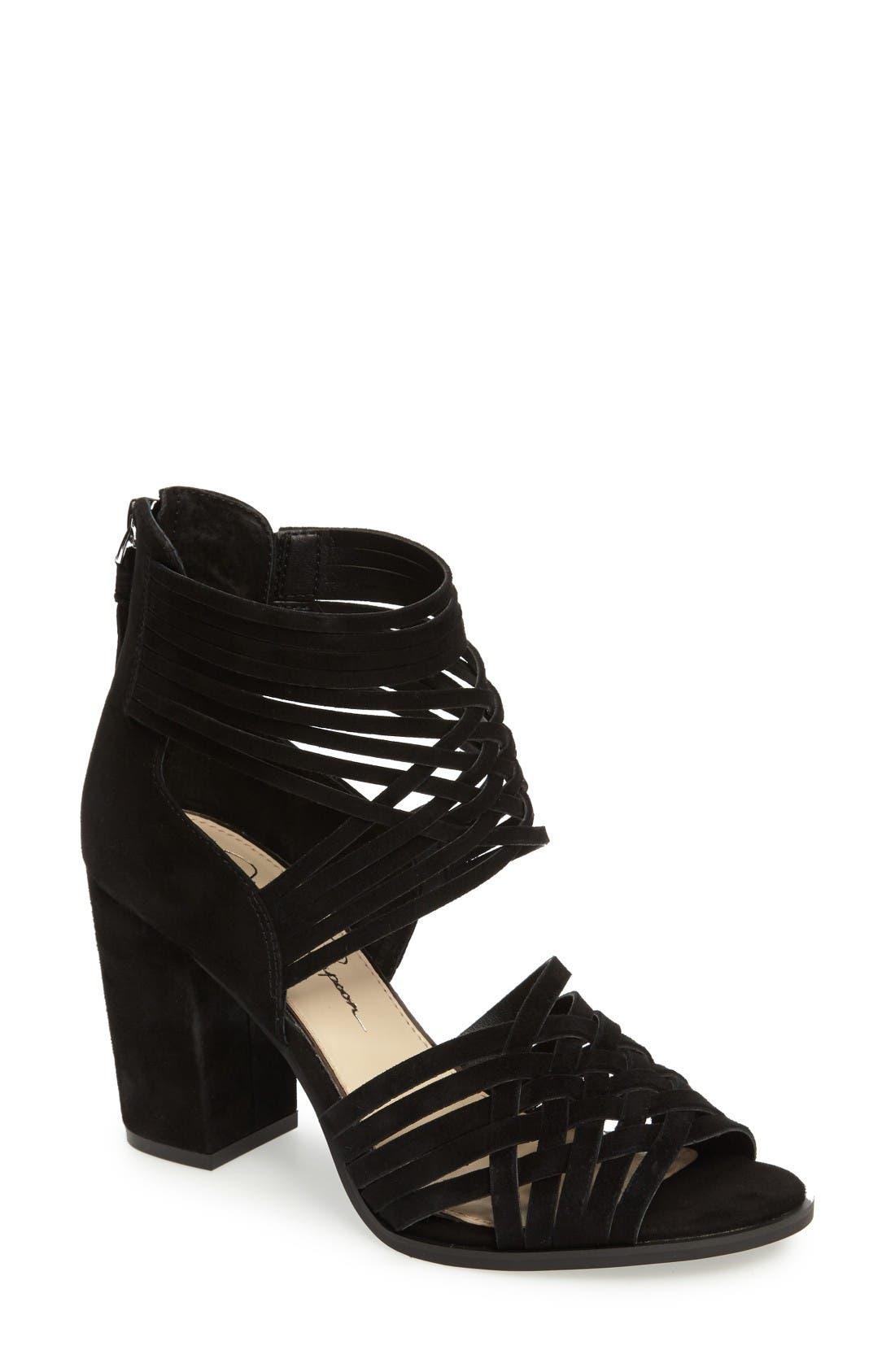 Reilynn Woven Sandal,                             Main thumbnail 1, color,                             Black Suede
