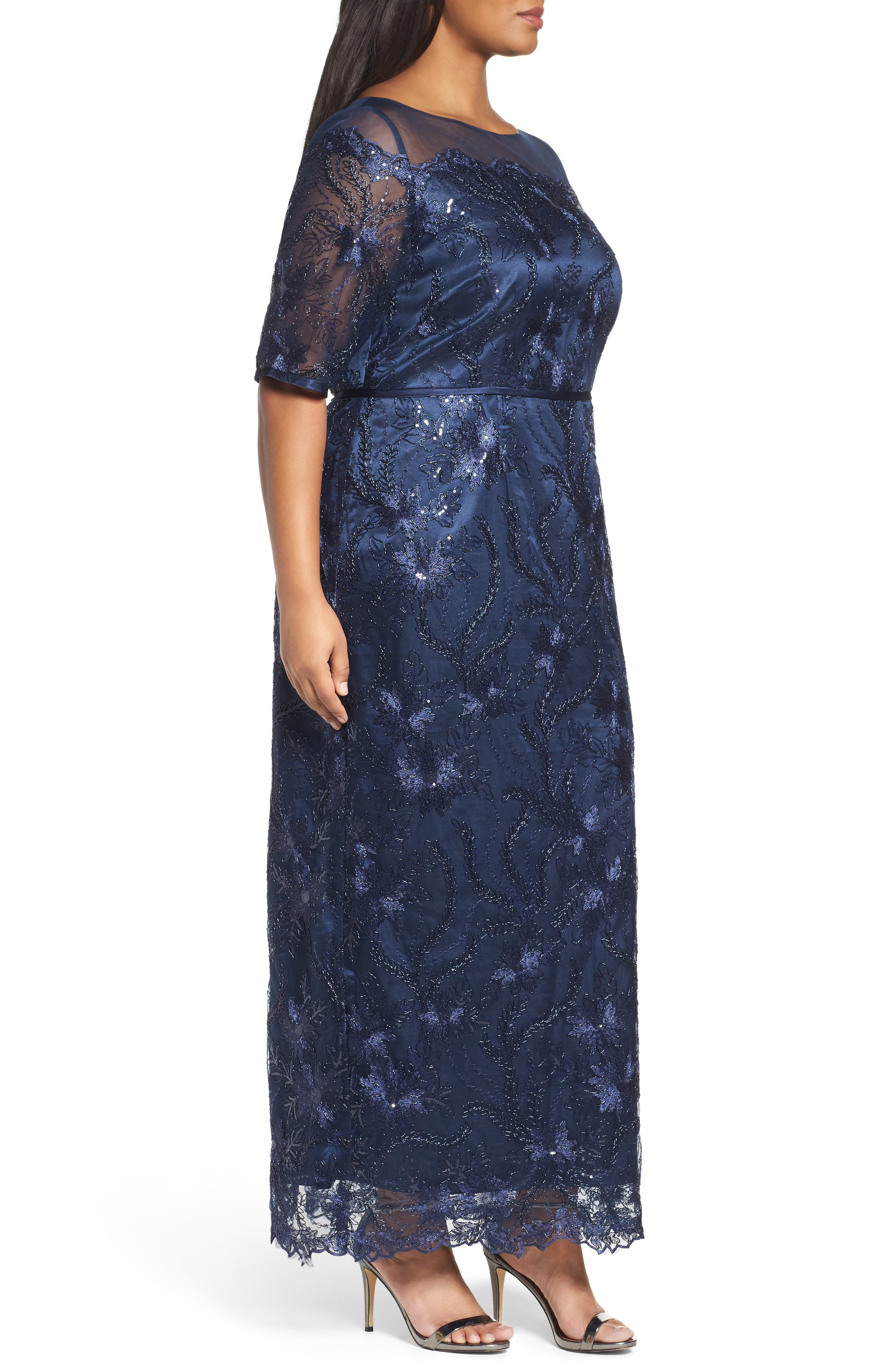 Embellished Gown,                             Alternate thumbnail 3, color,                             Navy