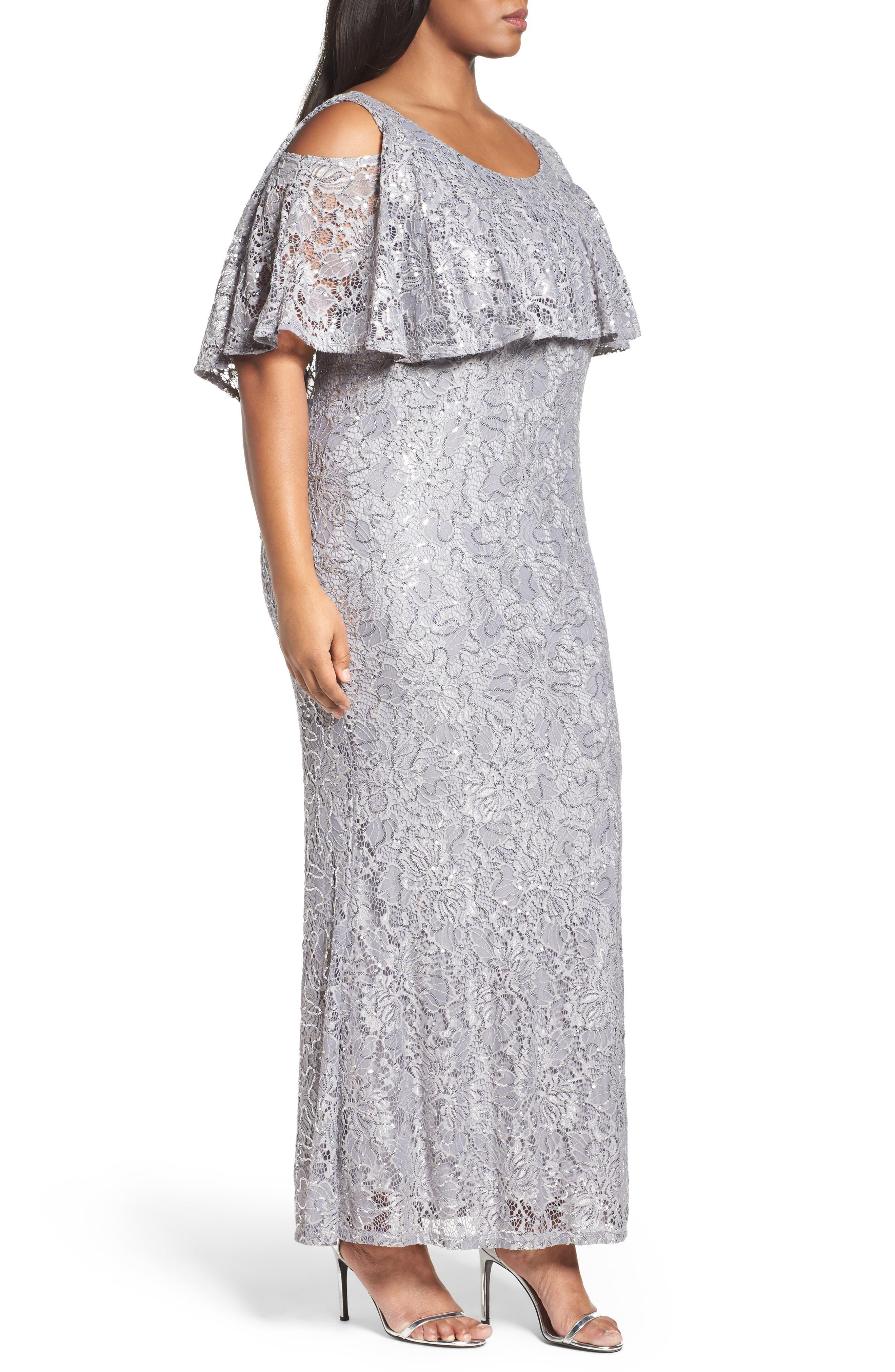 Sequin Lace Cold Shoulder Long Dress,                             Alternate thumbnail 3, color,                             Grey