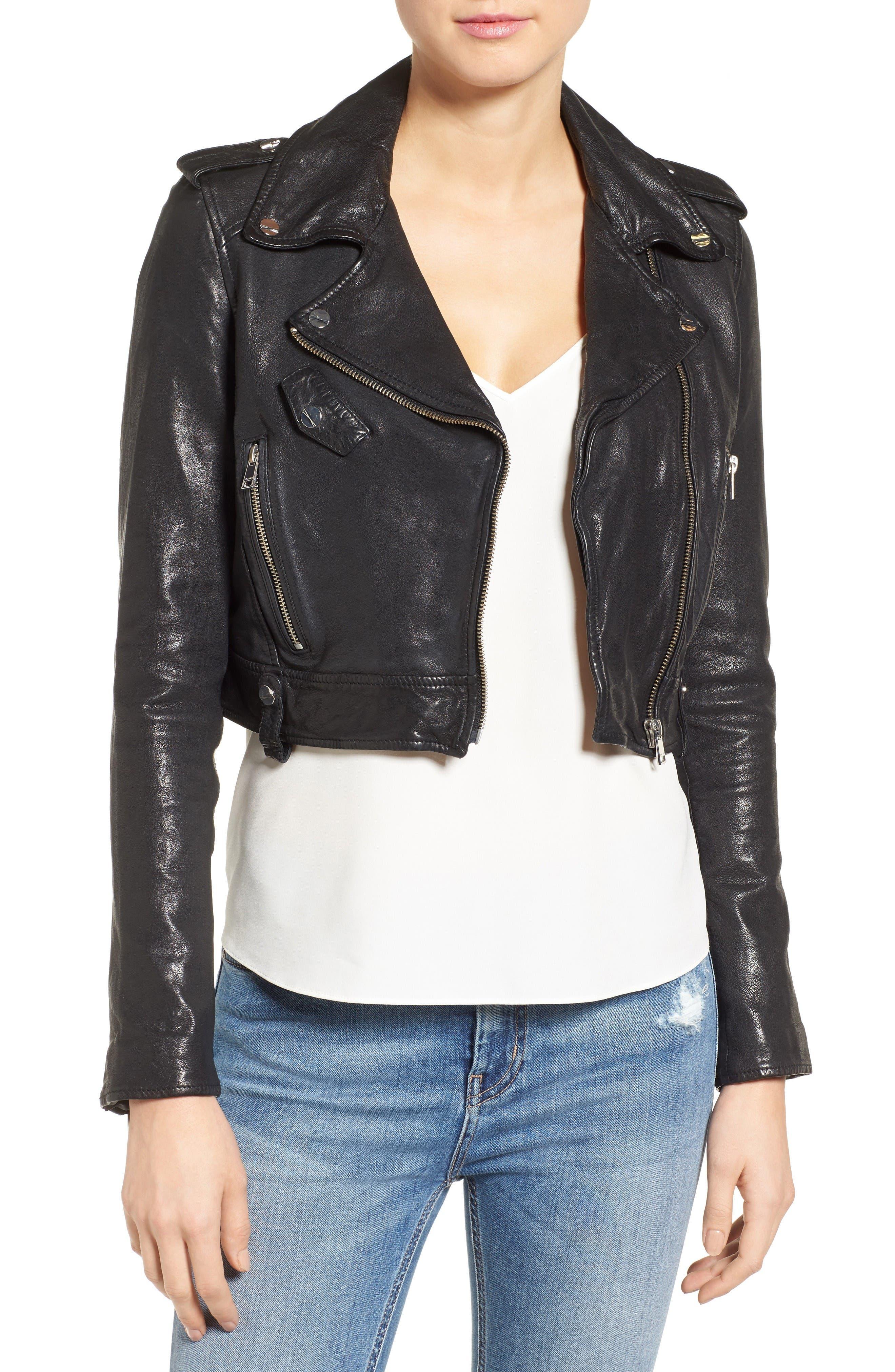 Washed Leather Crop Moto Jacket,                             Main thumbnail 1, color,                             Black