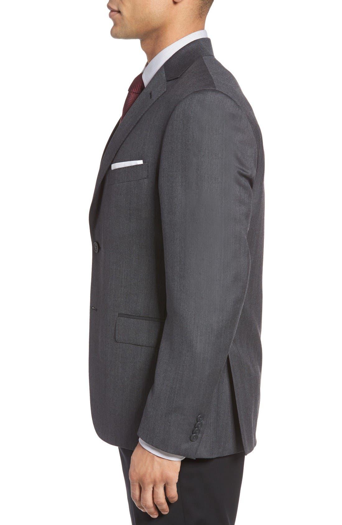 Classic Fit Herringbone Wool Sport Coat,                             Alternate thumbnail 3, color,                             Charcoal