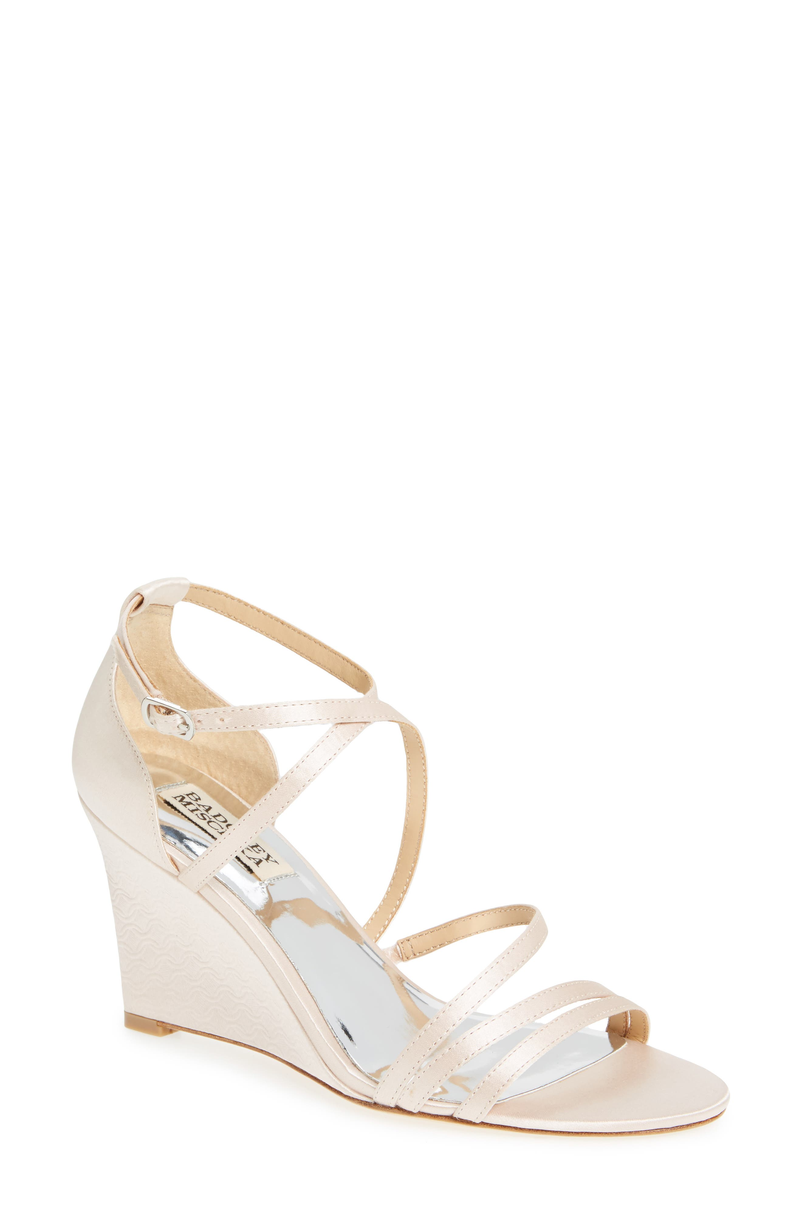 Bonanza Strappy Wedge Sandal,                         Main,                         color, Light Pink Satin