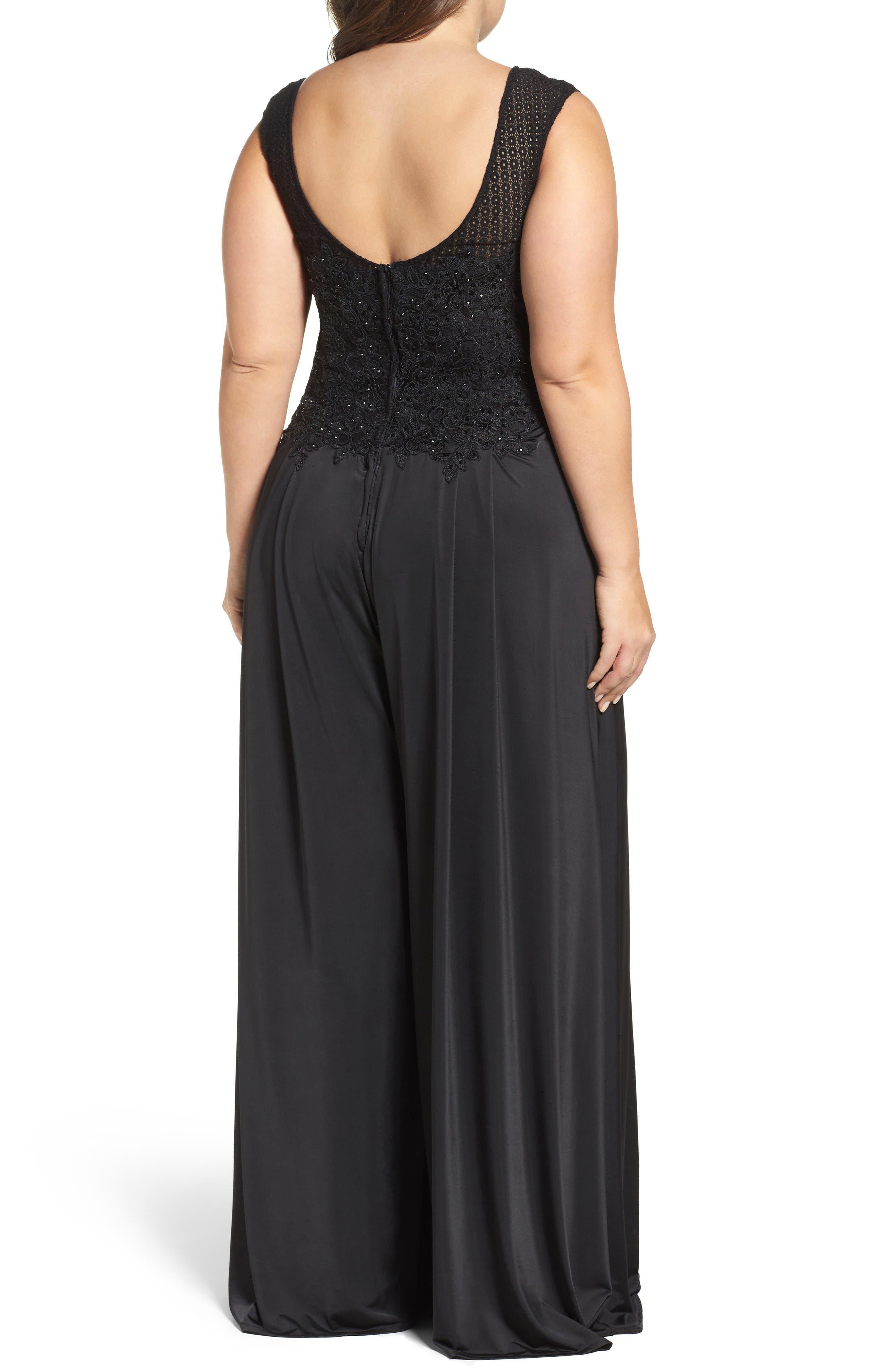 Alternate Image 2  - Mac Duggal Lace Appliqué Jumpsuit (Plus Size)