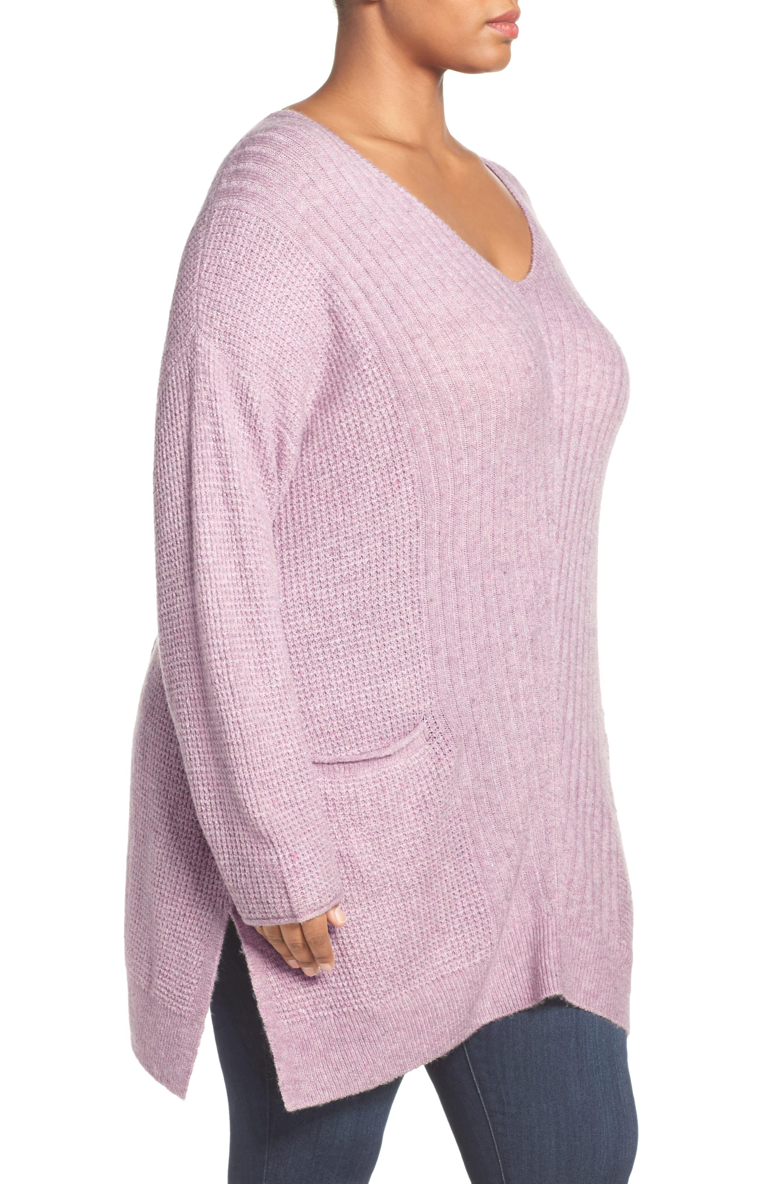 Mixed Stitch V-Neck Tunic Sweater,                             Alternate thumbnail 2, color,                             Heather Purple Morn
