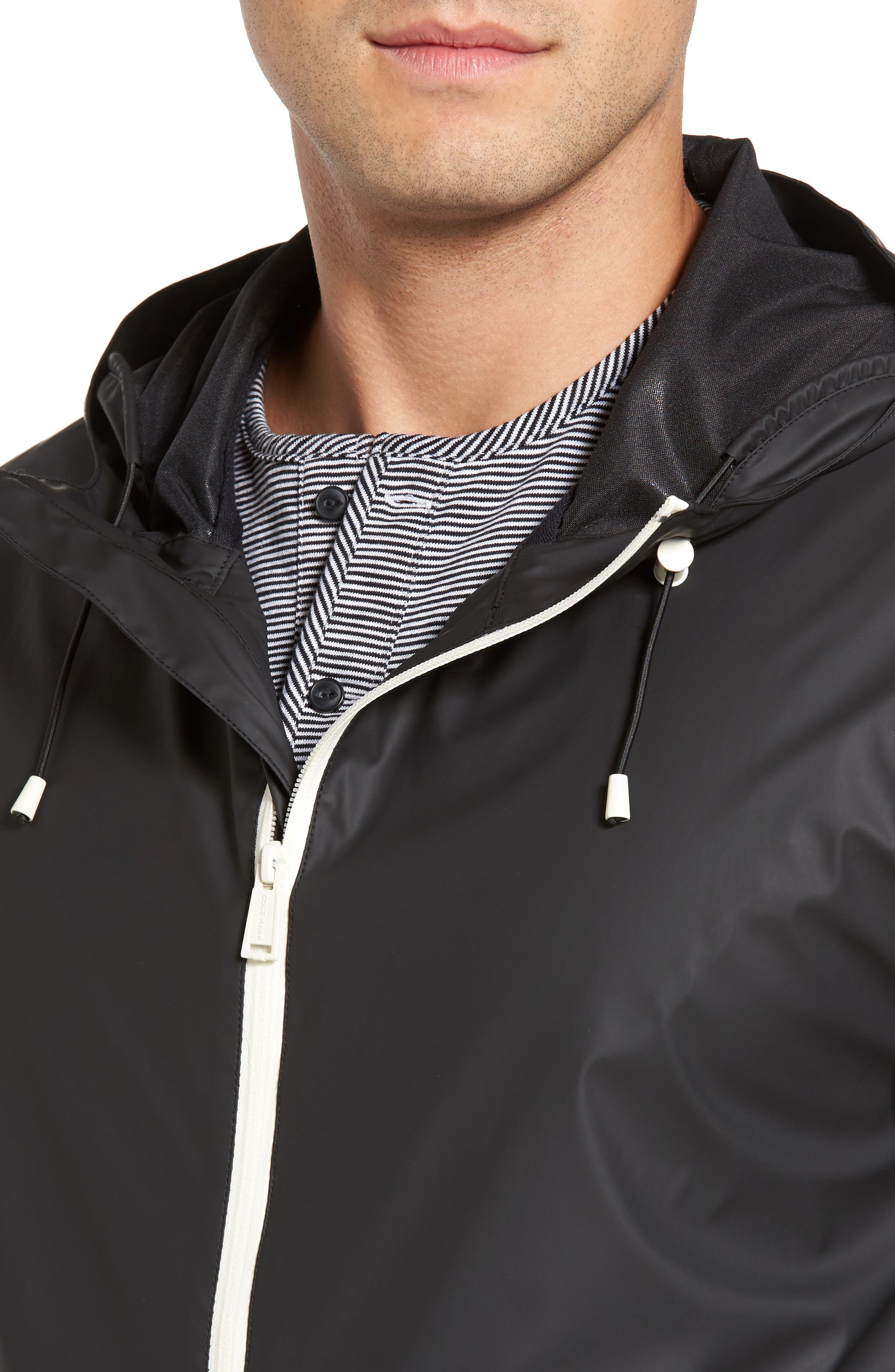 Rubberized Hooded Jacket,                             Alternate thumbnail 4, color,                             Black