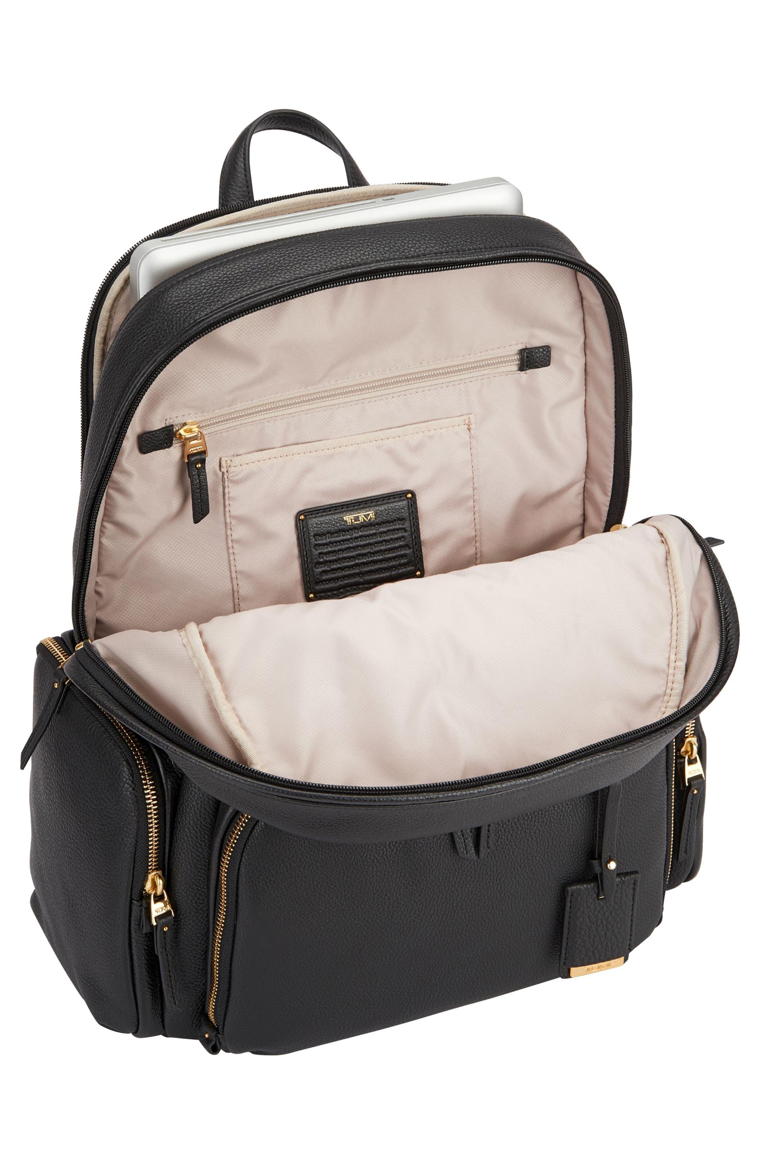 Calais Leather Computer Backpack,                             Alternate thumbnail 4, color,                             Black