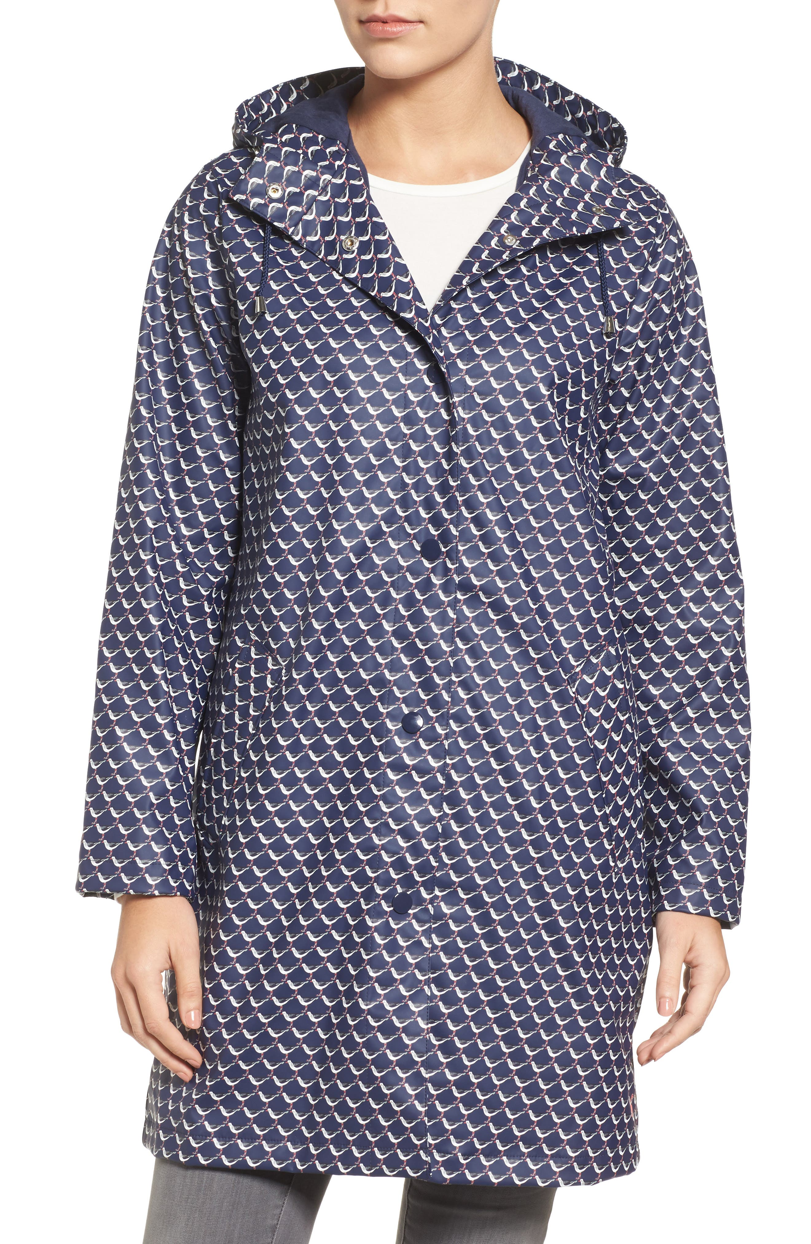 Right as Rain Longline Waterproof Hooded Coat,                             Alternate thumbnail 4, color,                             French Navy Oyster Catcher