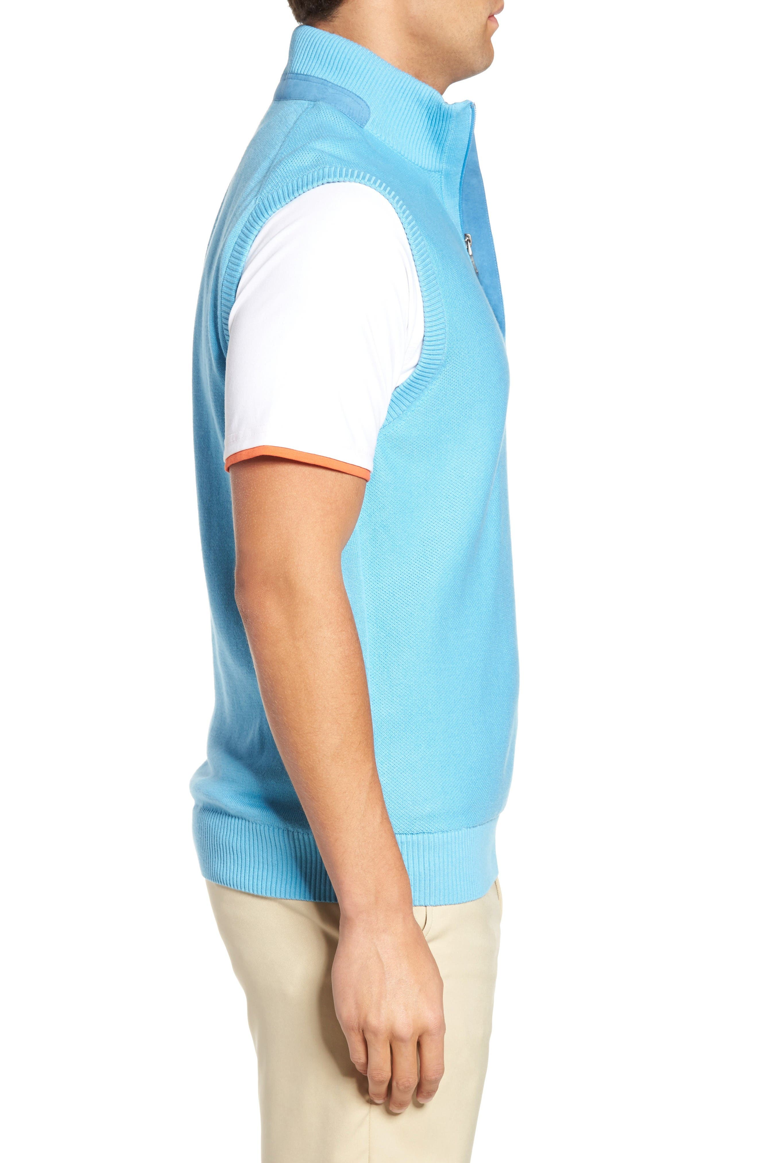 Alternate Image 3  - Bobby Jones Piqué Jersey Quarter Zip Golf Vest