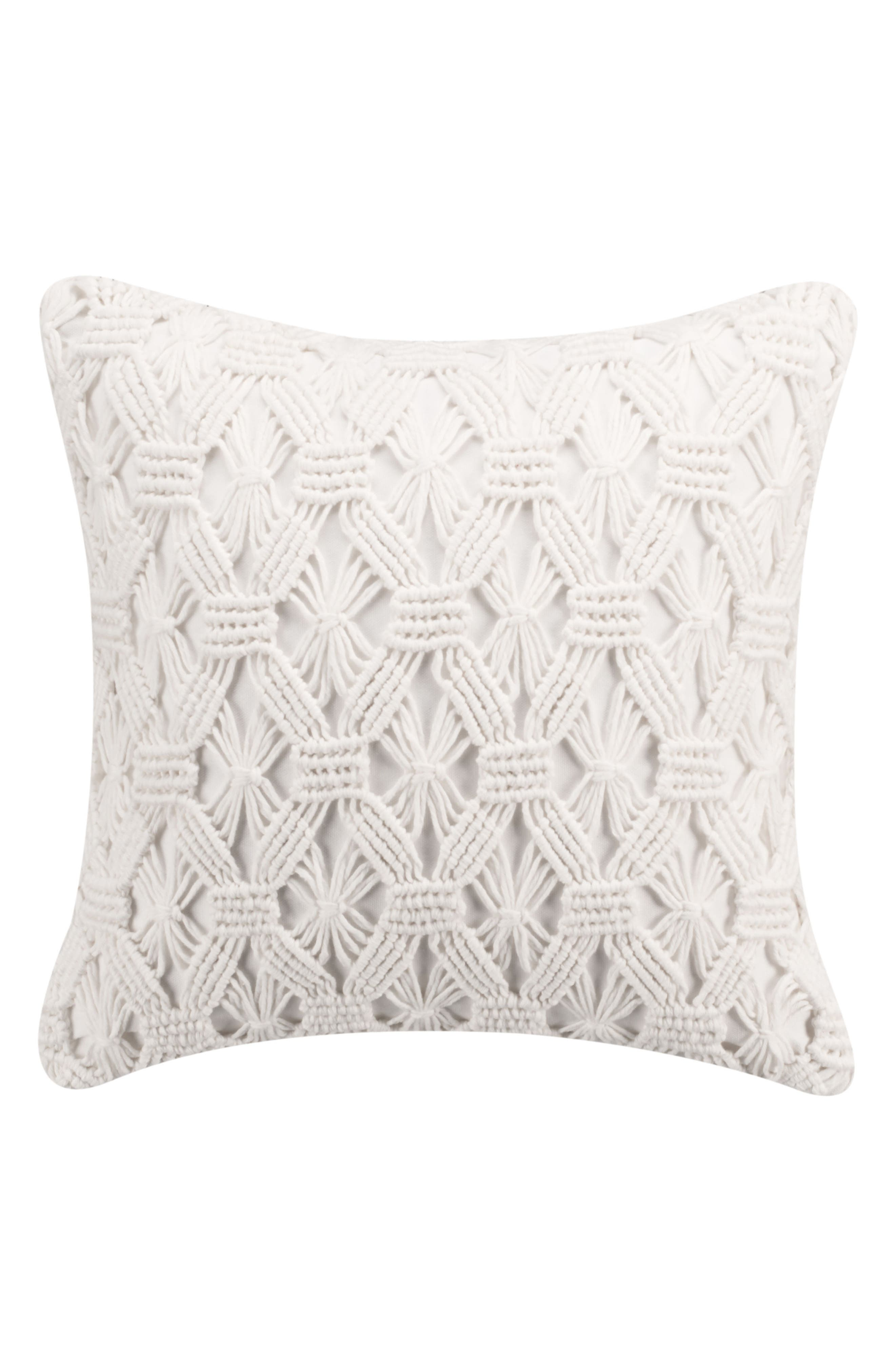 cupcakes & cashmere Mosaic Tile Hand Knotted Accent Pillow,                         Main,                         color, White