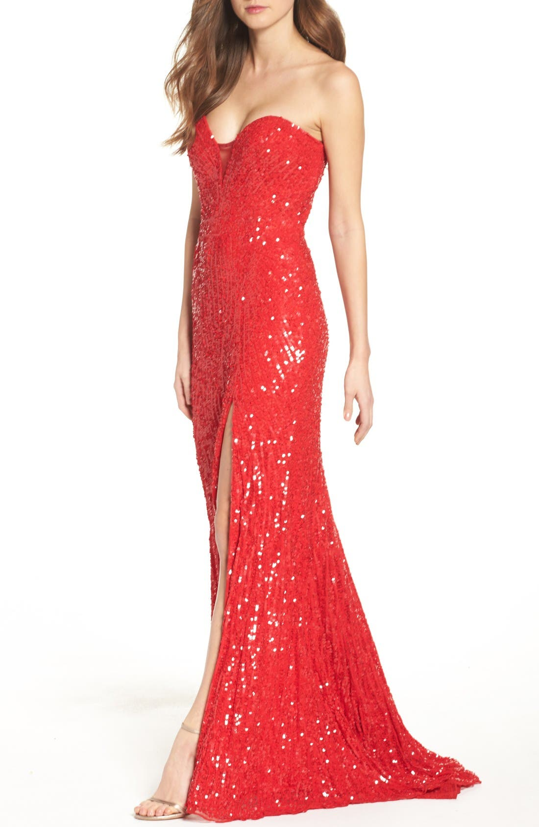 Alternate Image 4  - Mac Duggal Front Slit Sequin Strapless Gown