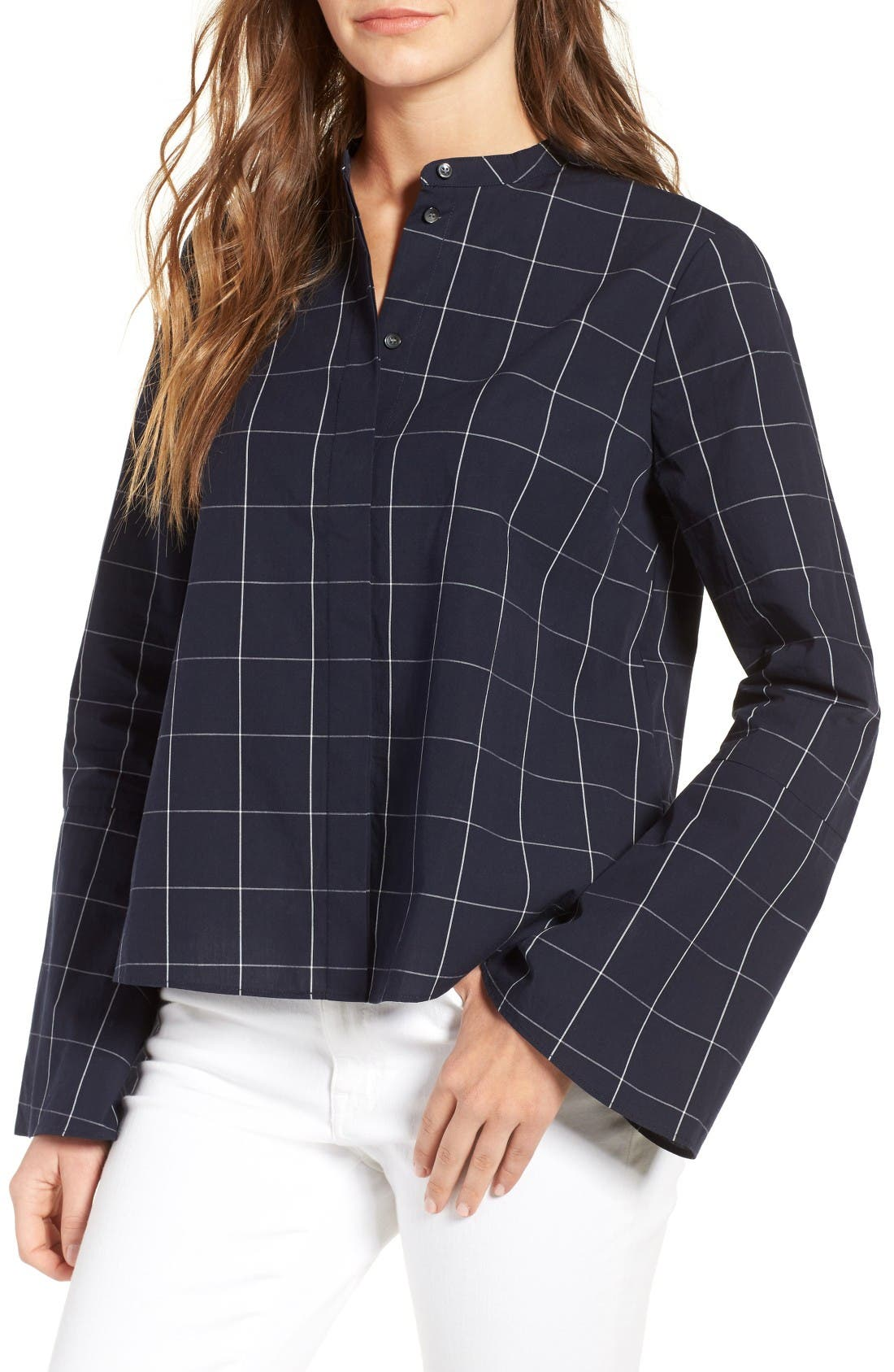 Windowpane Bell Sleeve Shirt,                         Main,                         color, Night Vision