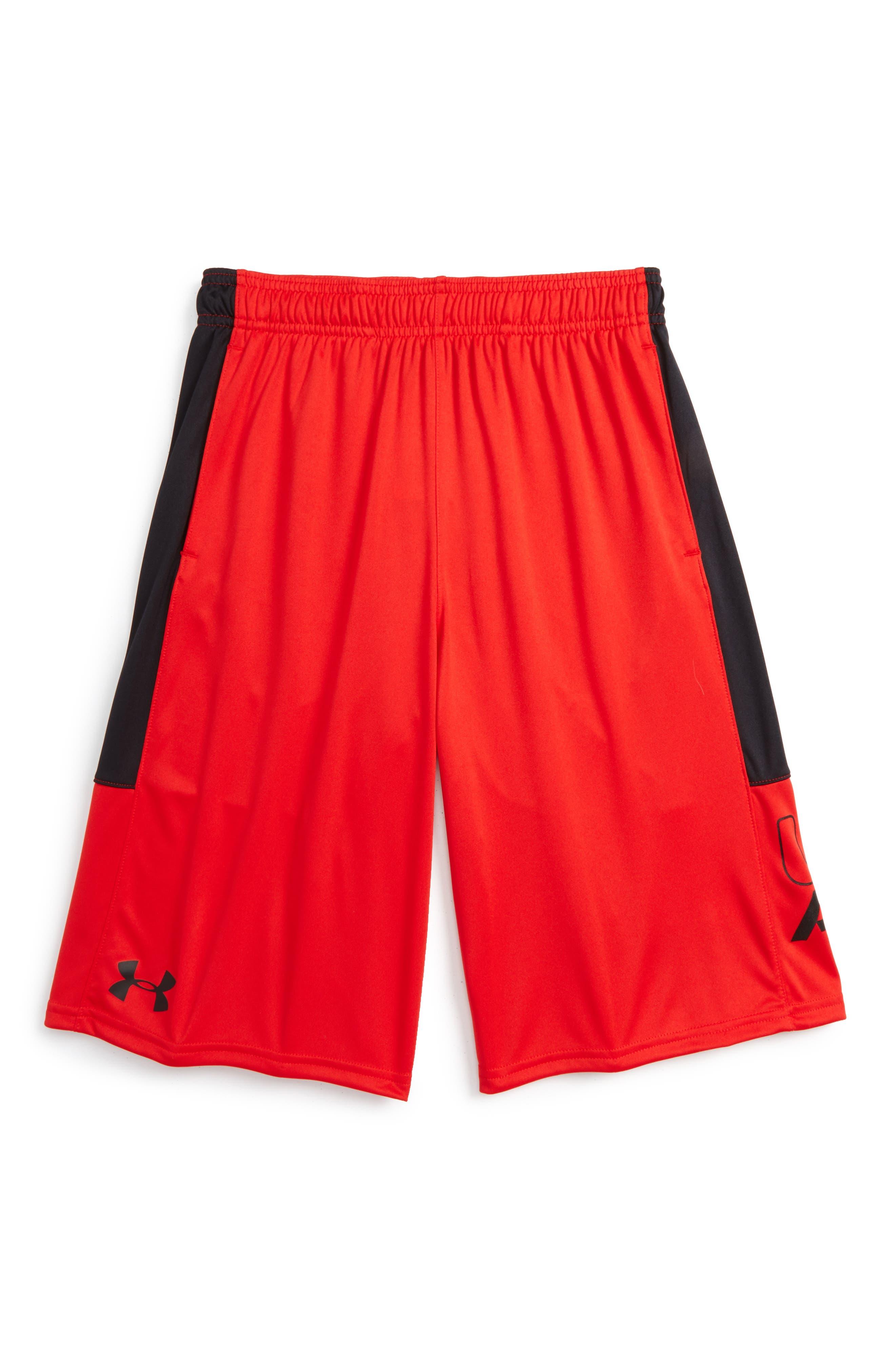Stunt HeatGear<sup>®</sup> Shorts,                             Main thumbnail 1, color,                             Red/Black/Black