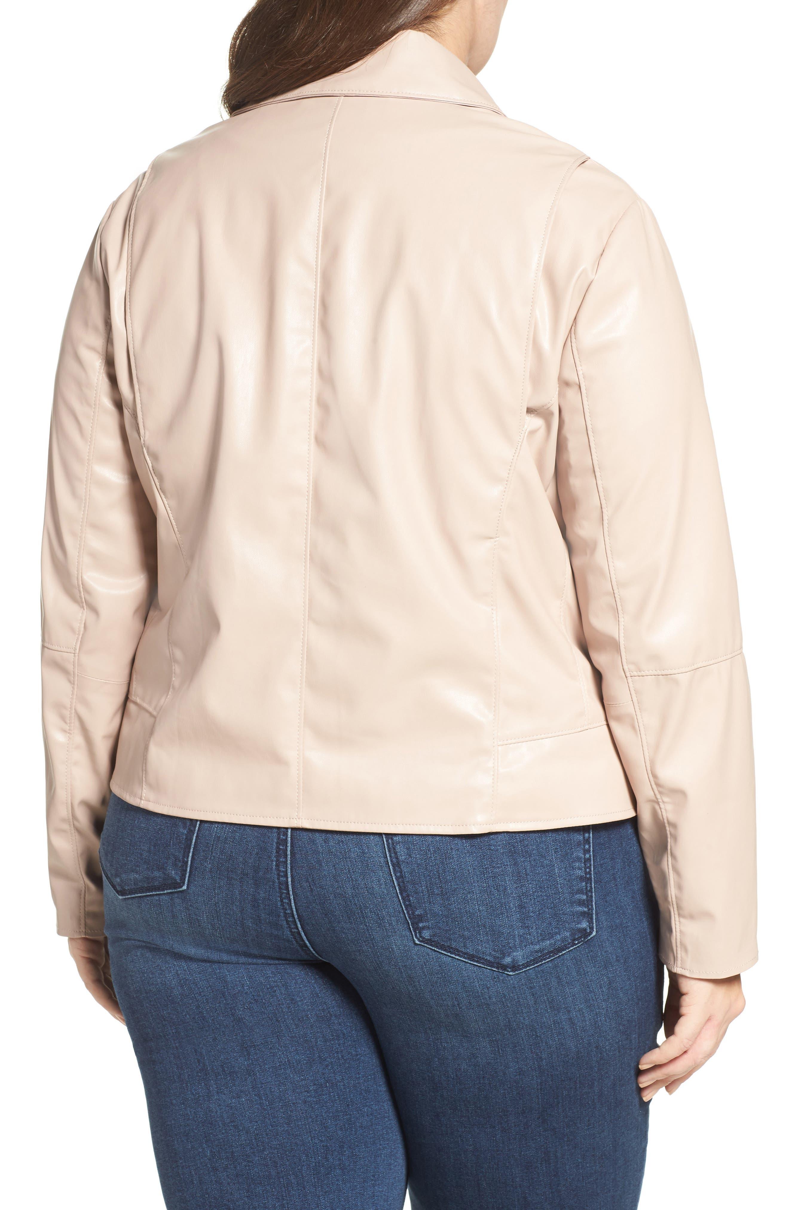 Mollie Faux Leather Jacket,                             Alternate thumbnail 2, color,                             Rose Dust