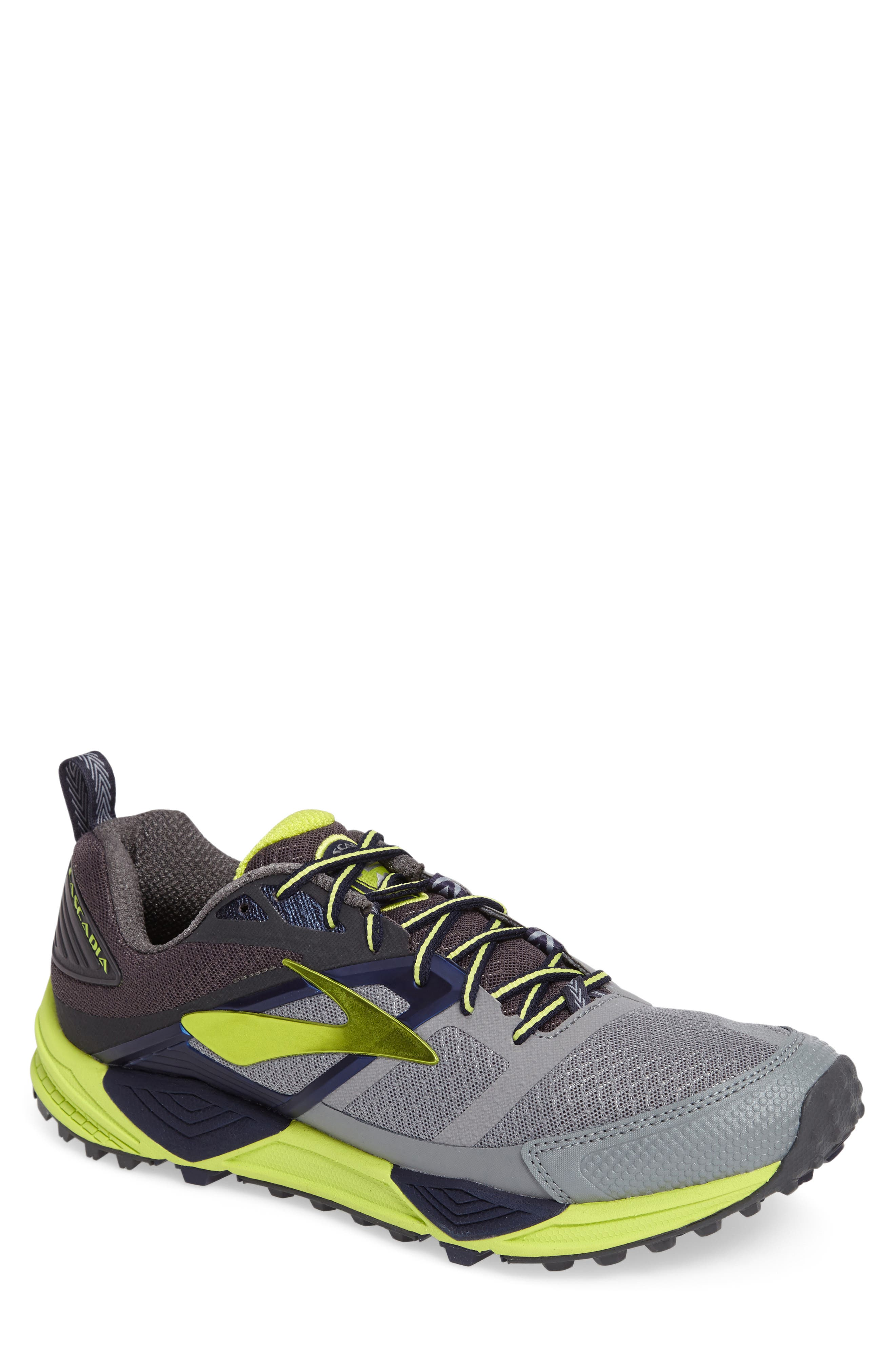 Cascadia 12 Trail Running Shoe,                             Main thumbnail 1, color,                             Grey/ Anthracite/ Lime Punch