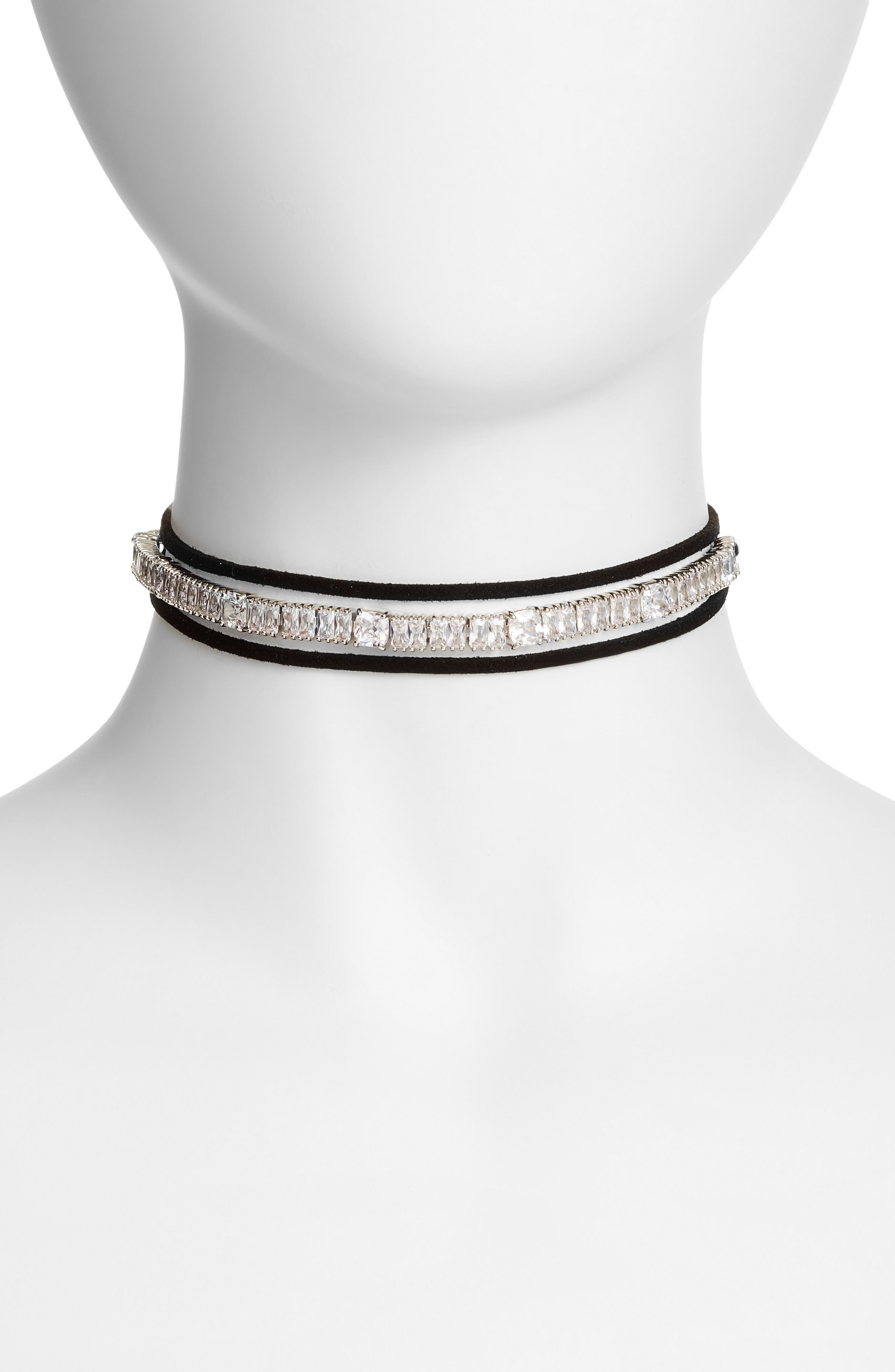 Alternate Image 1 Selected - CZ by Kenneth Jay Lane Baguette Cushion Wrap Choker