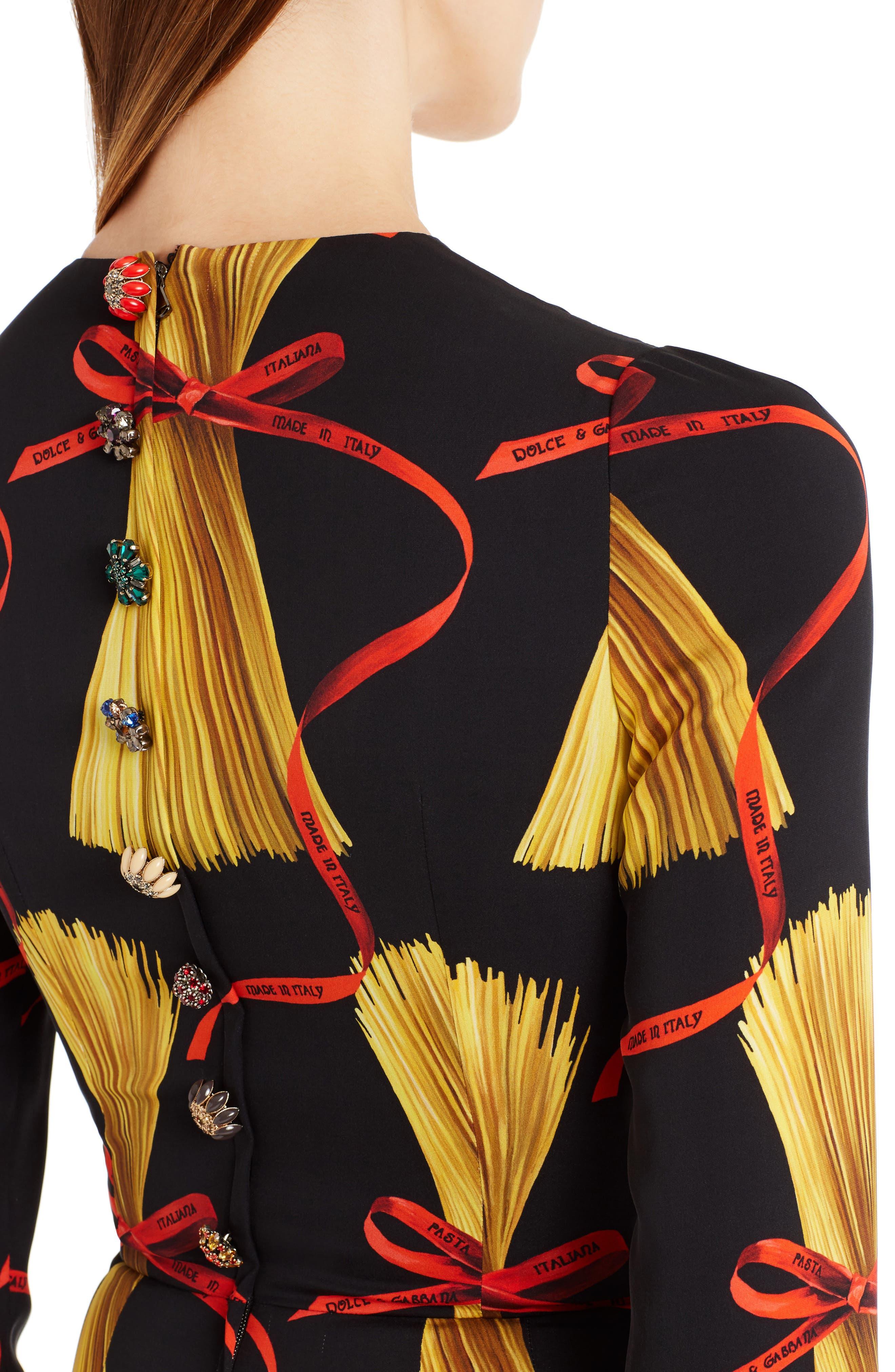 Alternate Image 5  - Dolce&Gabbana Pasta Print Stretch Silk Dress