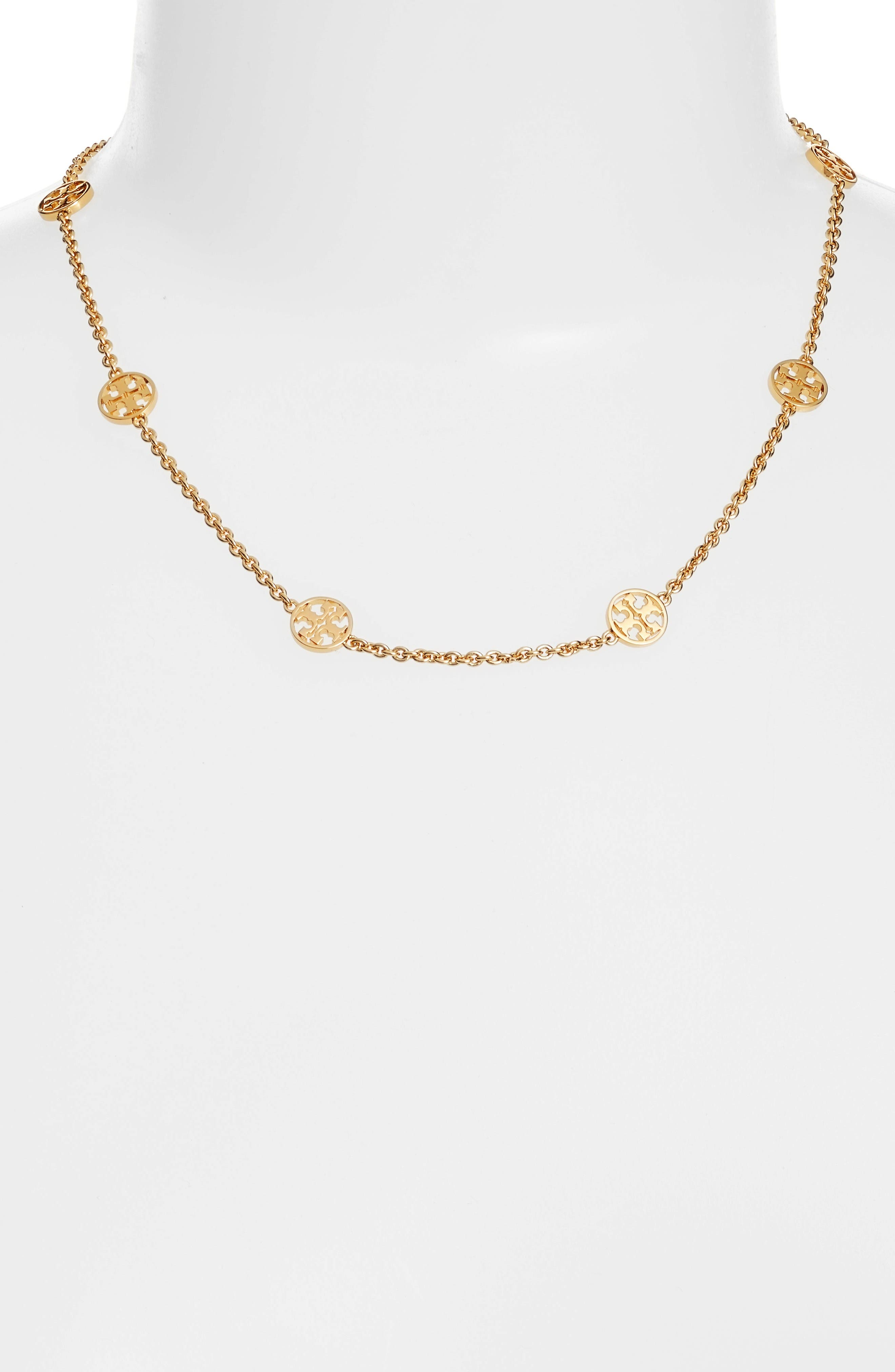 Alternate Image 1 Selected - Tory Burch Logo Station Necklace