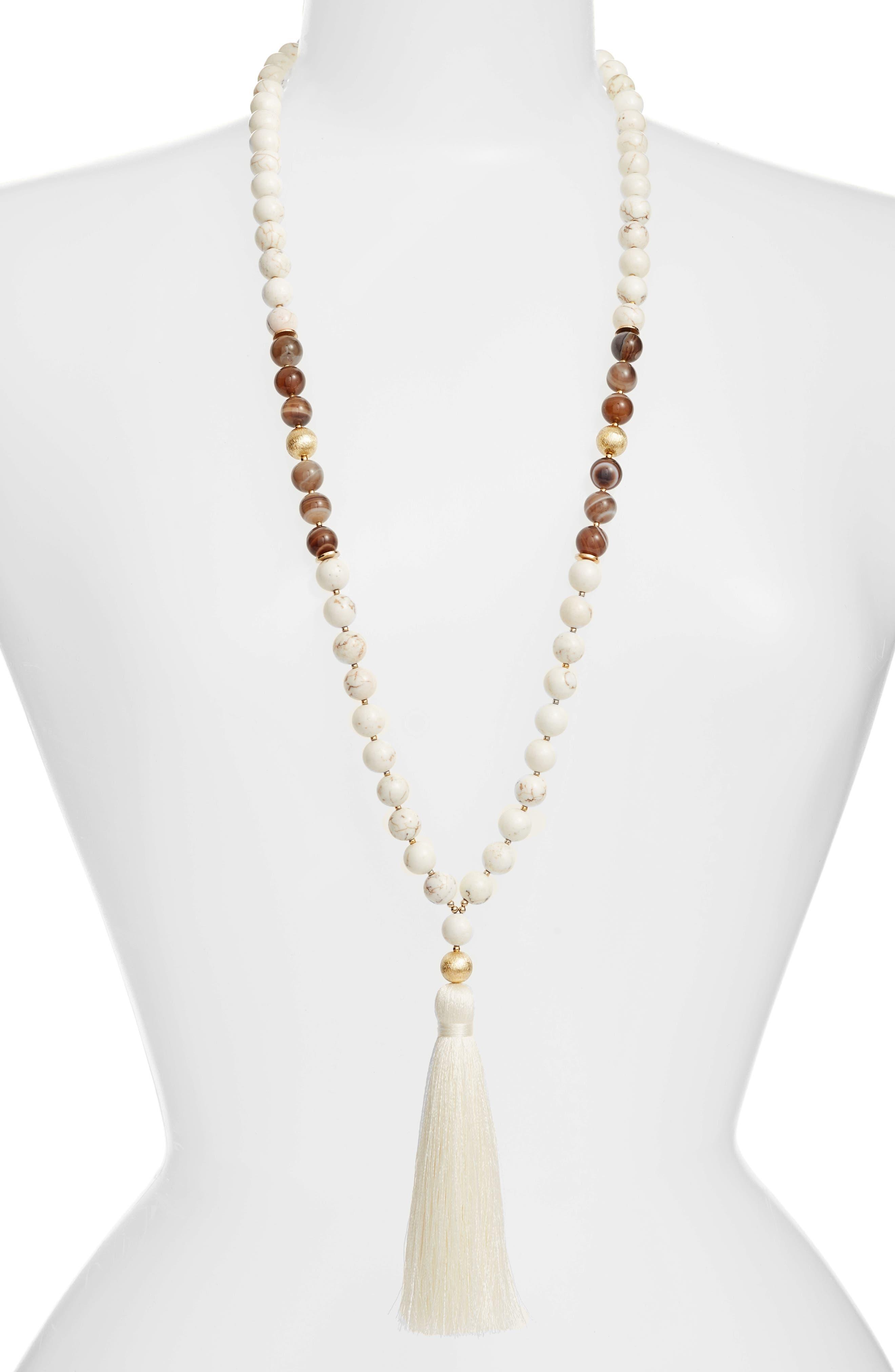 Alternate Image 1 Selected - Love's Affect Elle Semiprecious Stone Tassel Necklace