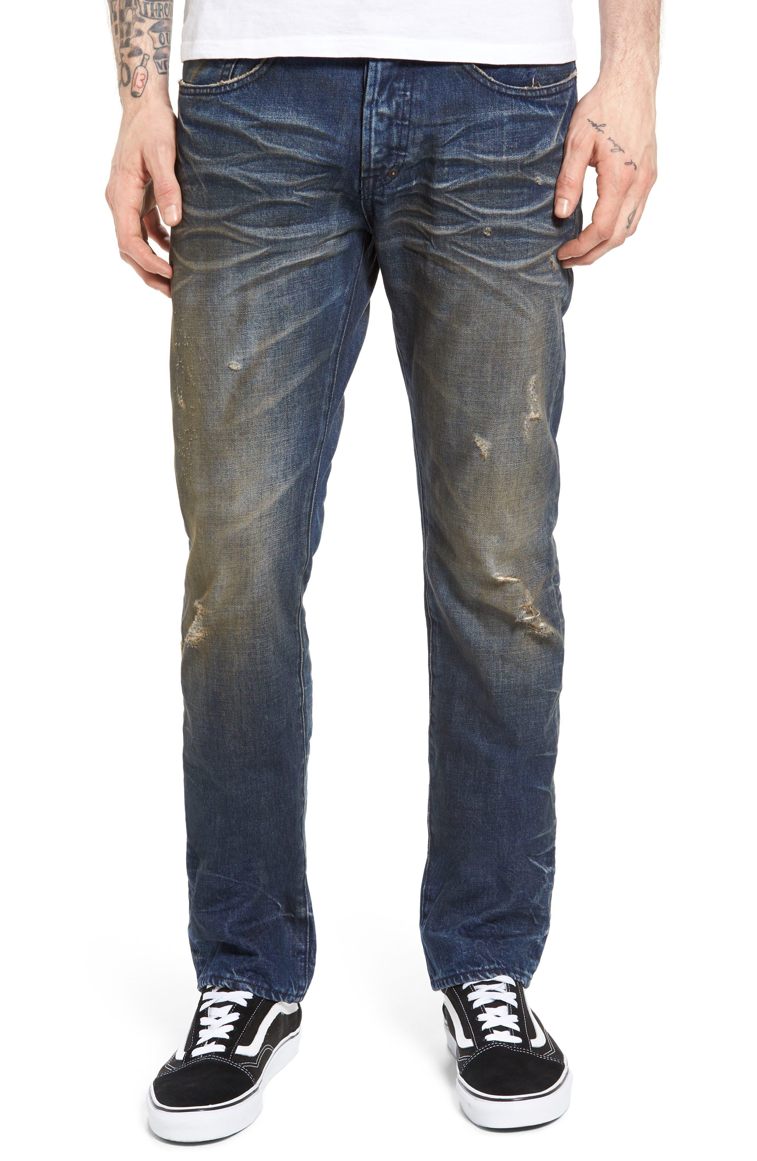 Demon Slim Straight Leg Jeans,                         Main,                         color, Indigo Blue