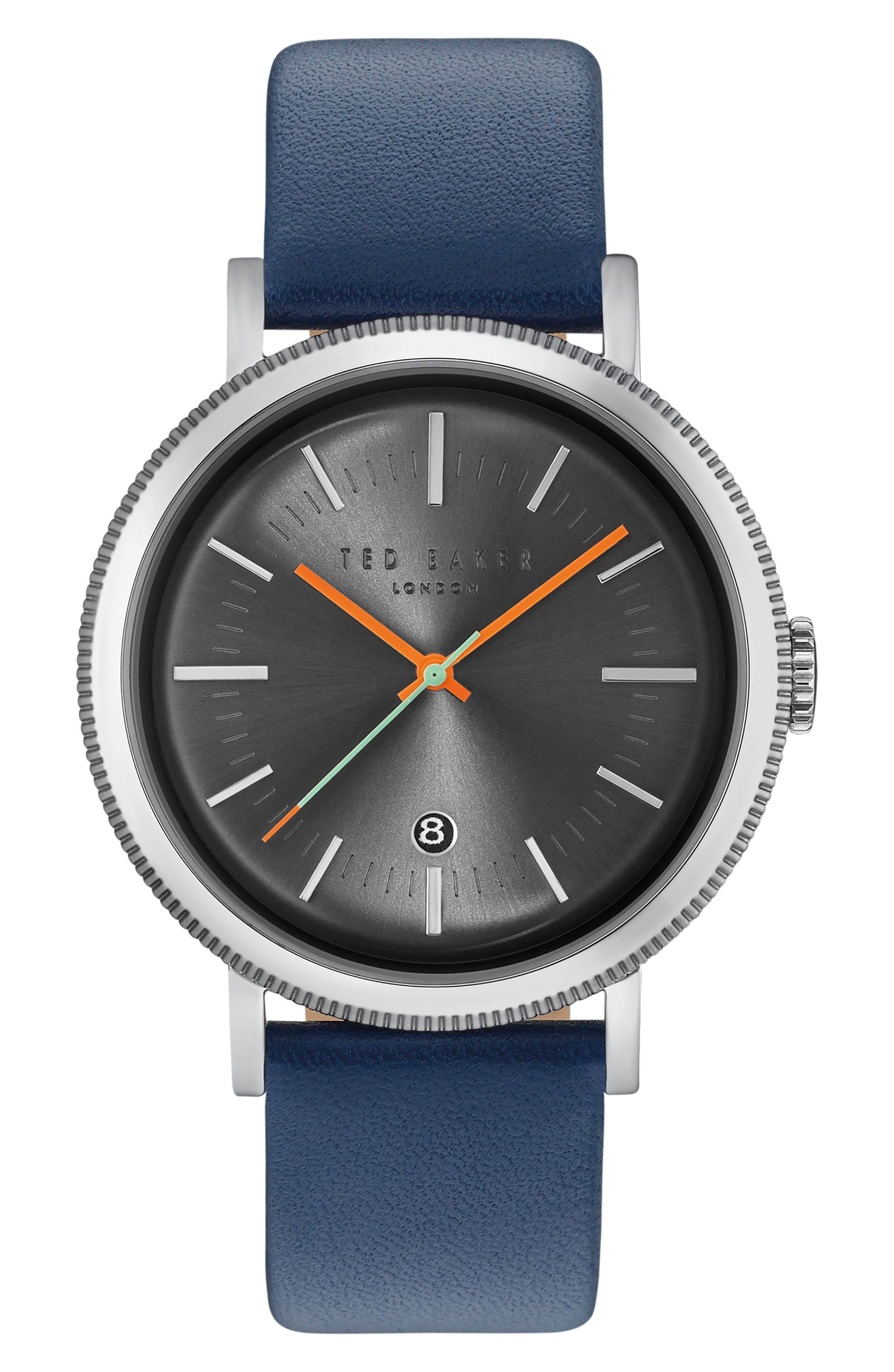 Connor Leather Strap Watch, 42mm,                         Main,                         color, Gunmetal/Navy