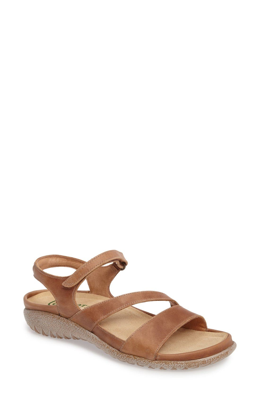 'Etera' Sandal,                             Main thumbnail 1, color,                             Brown Leather