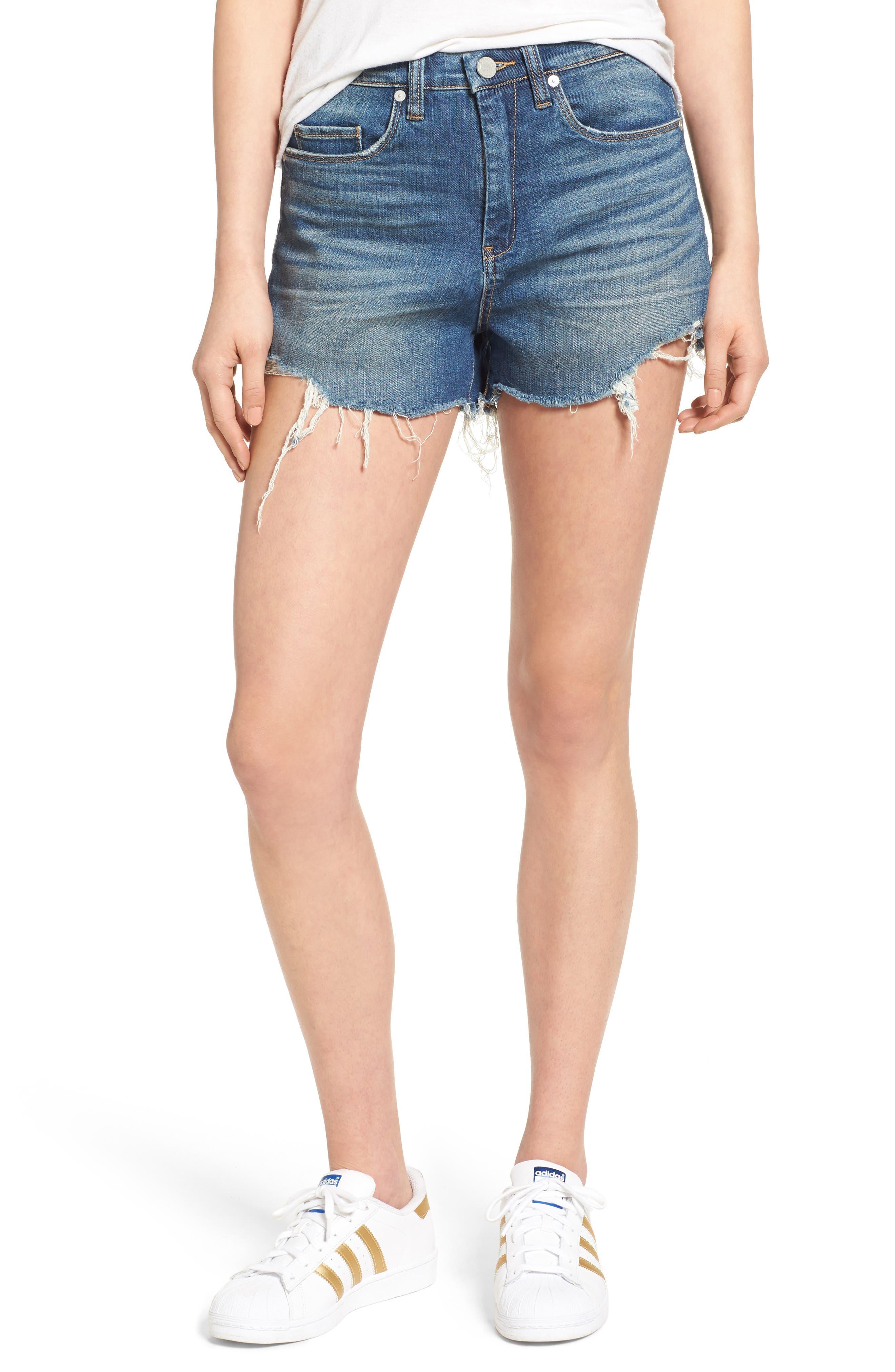 High Rise Cutoff Denim Shorts,                         Main,                         color, Blue