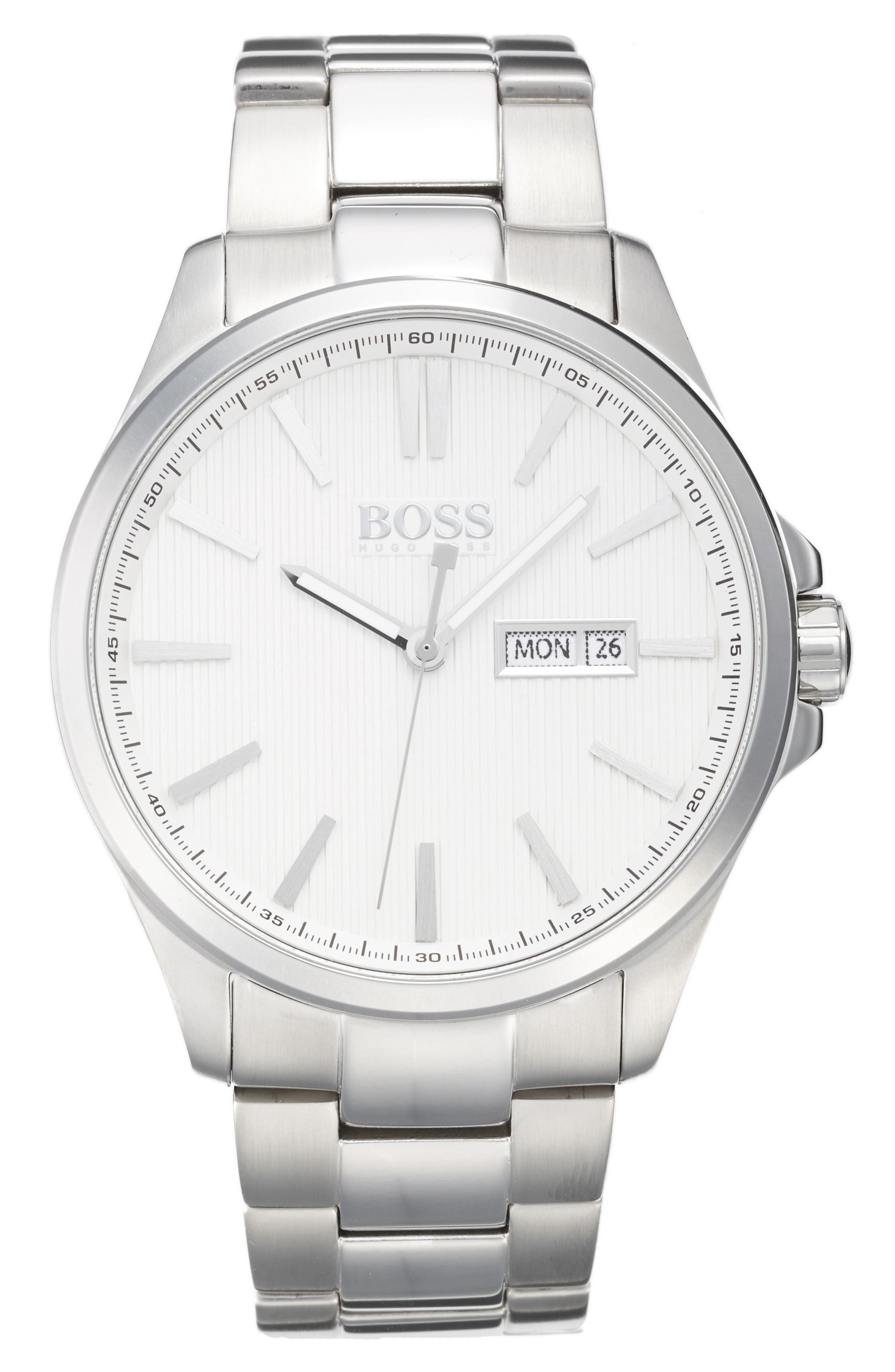 The James Bracelet Watch, 42mm,                         Main,                         color, White/ Silver