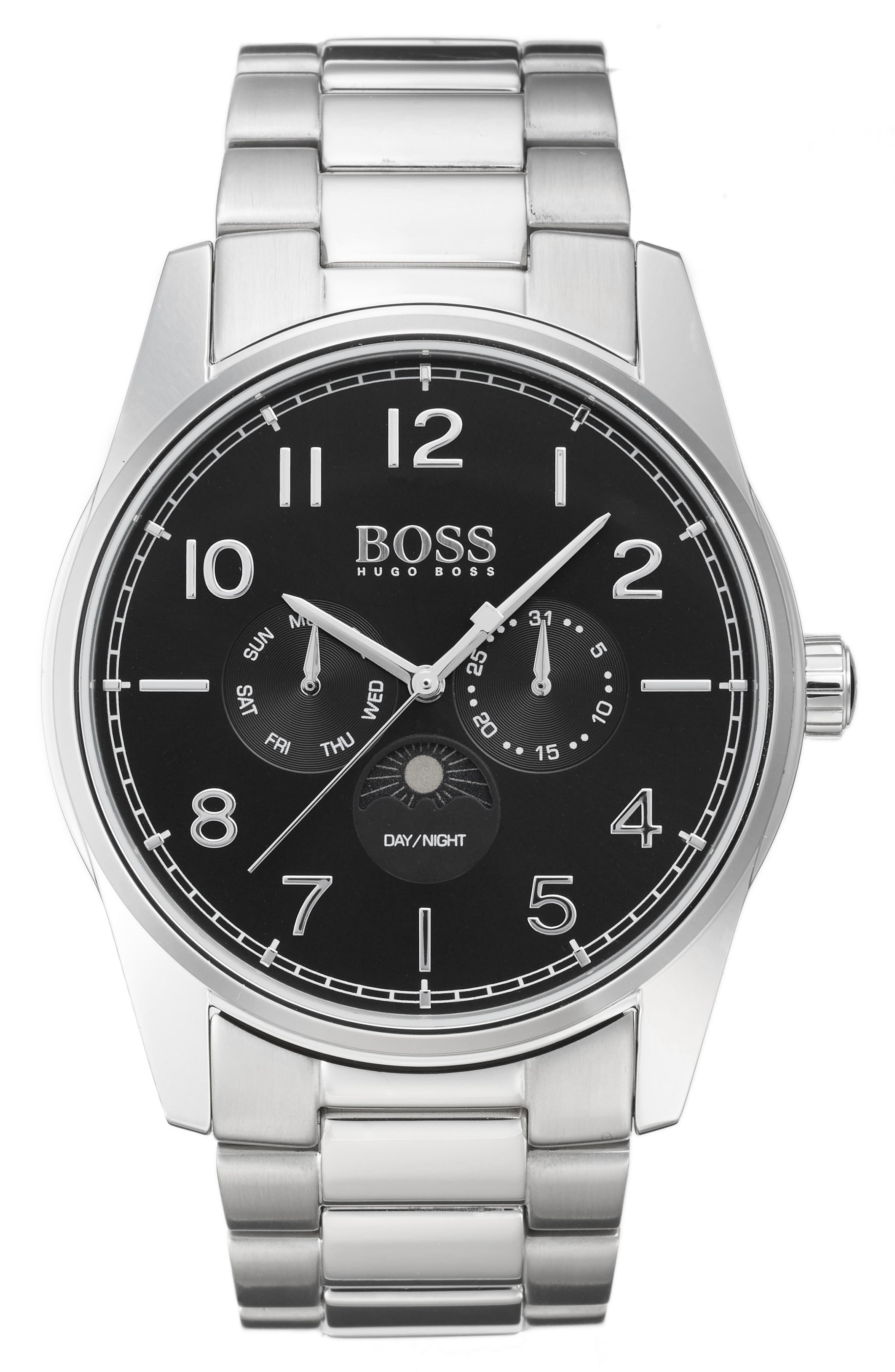 The Heritage Bracelet Watch, 43mm,                             Main thumbnail 1, color,                             Black/ Silver