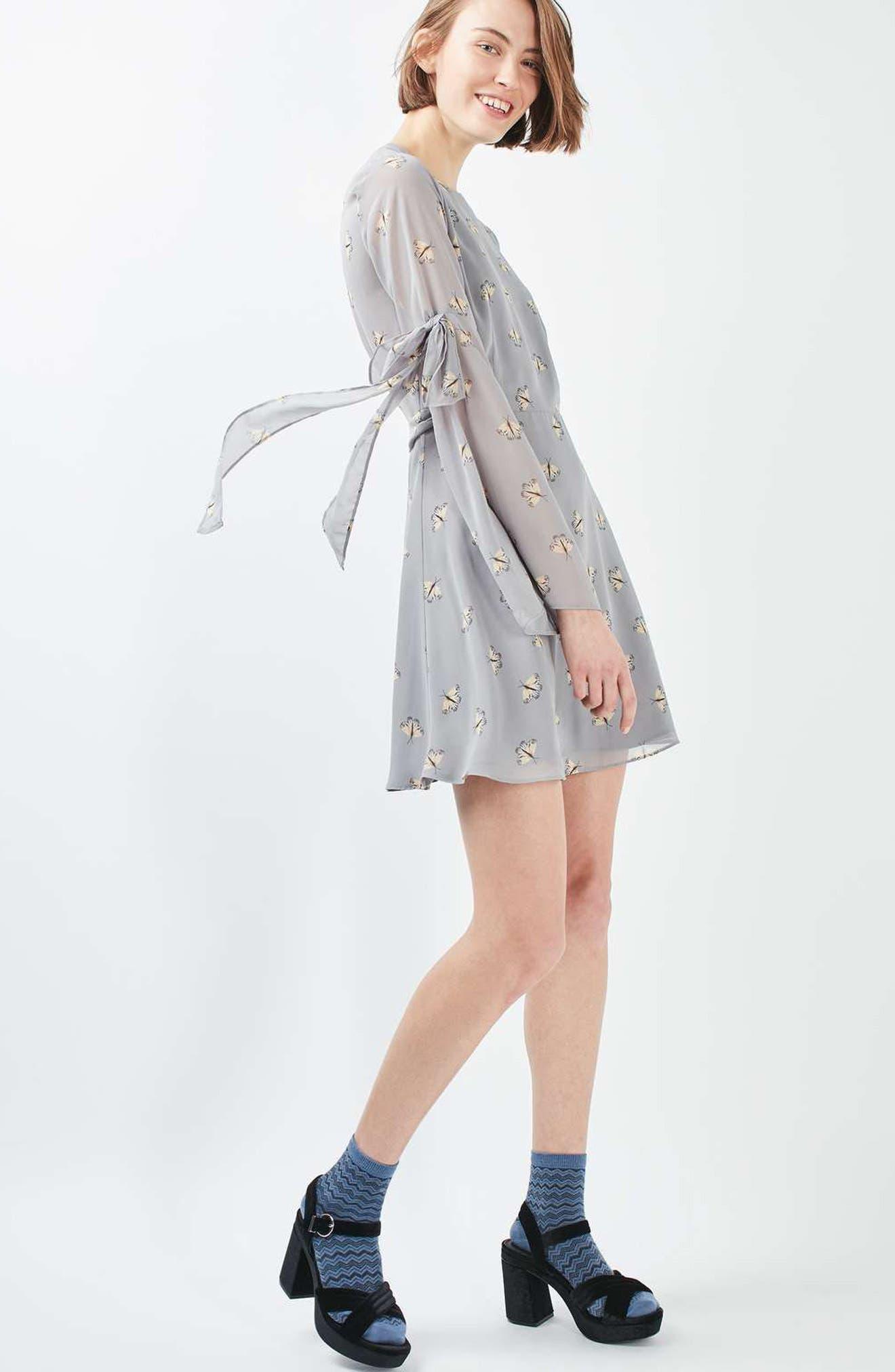 Alternate Image 2  - Topshop Moth Print Skater Dress