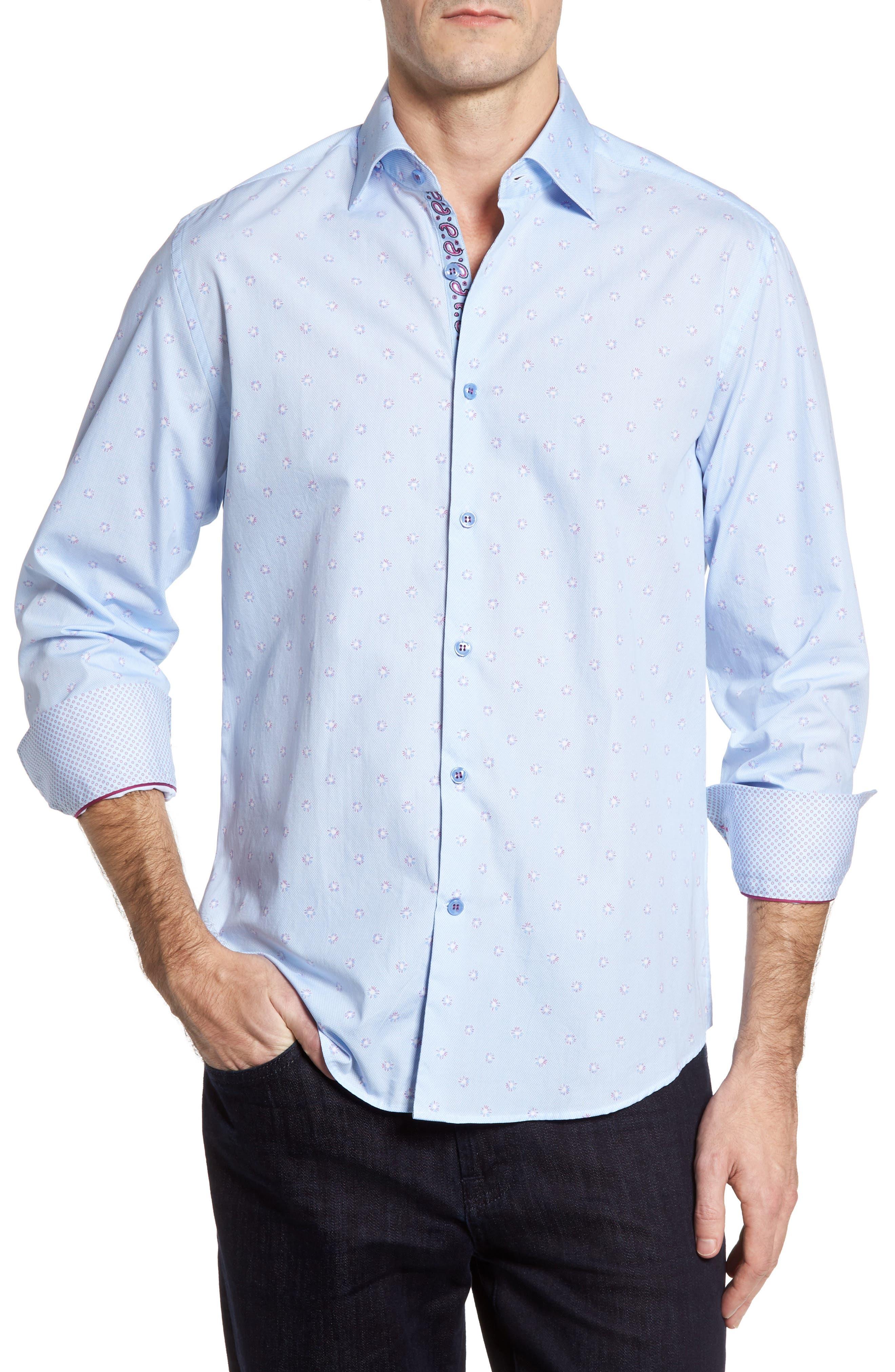 Slim Fit Dot Sport Shirt,                         Main,                         color, Sky Blue
