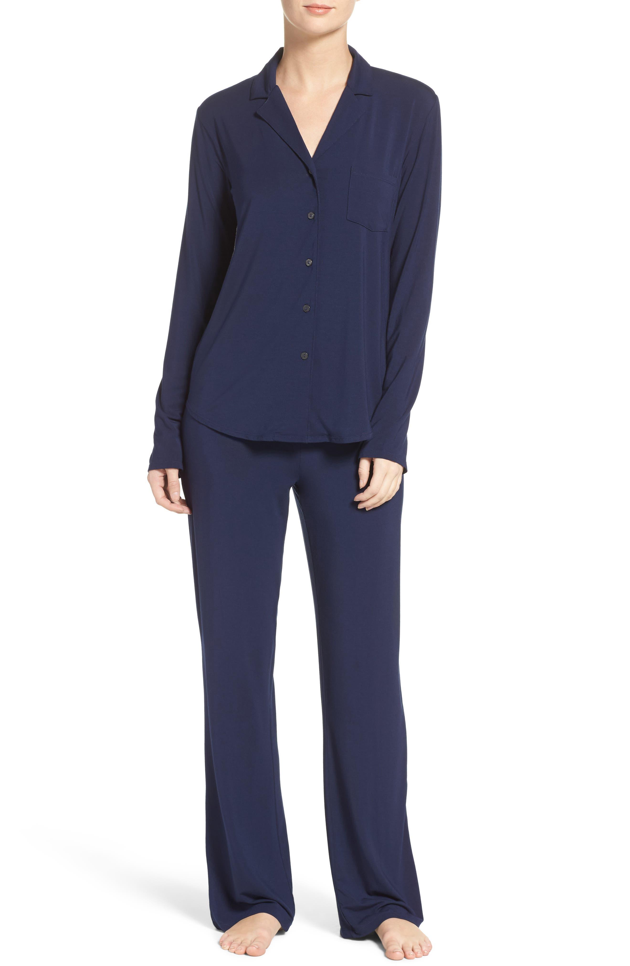 Stretch Modal Pajamas,                         Main,                         color, Peacoat Blue
