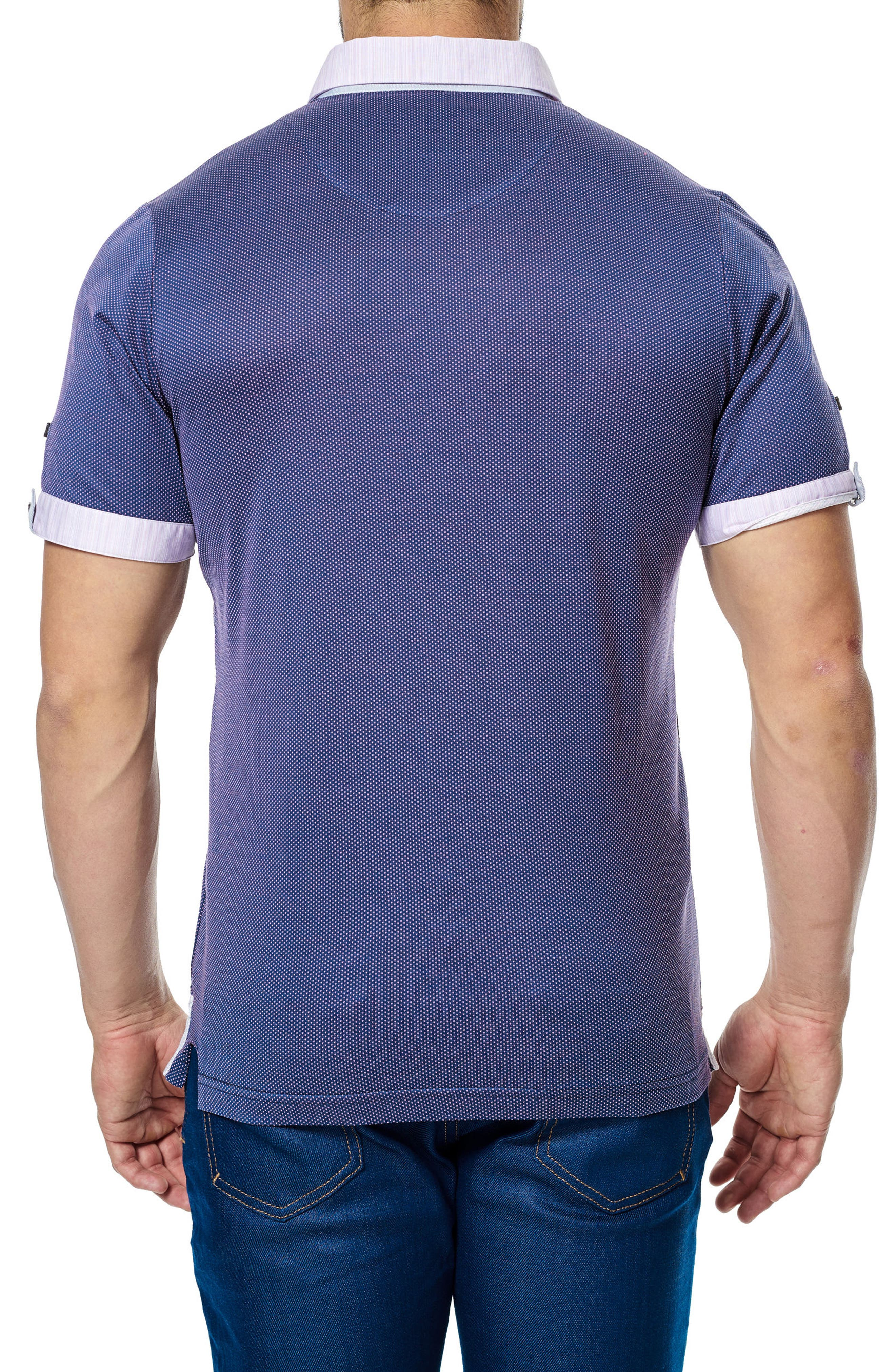 Woven Trim Polo,                             Alternate thumbnail 2, color,                             Purple