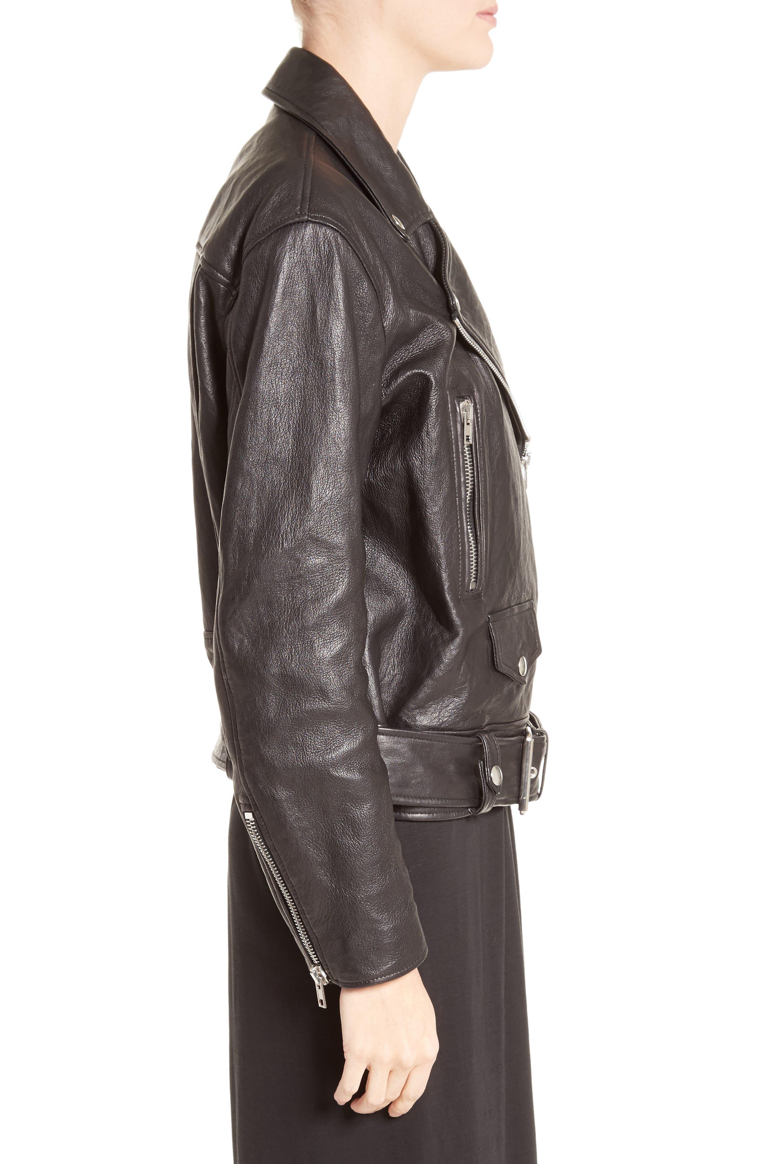 Merlyn Leather Jacket,                             Alternate thumbnail 4, color,                             Black