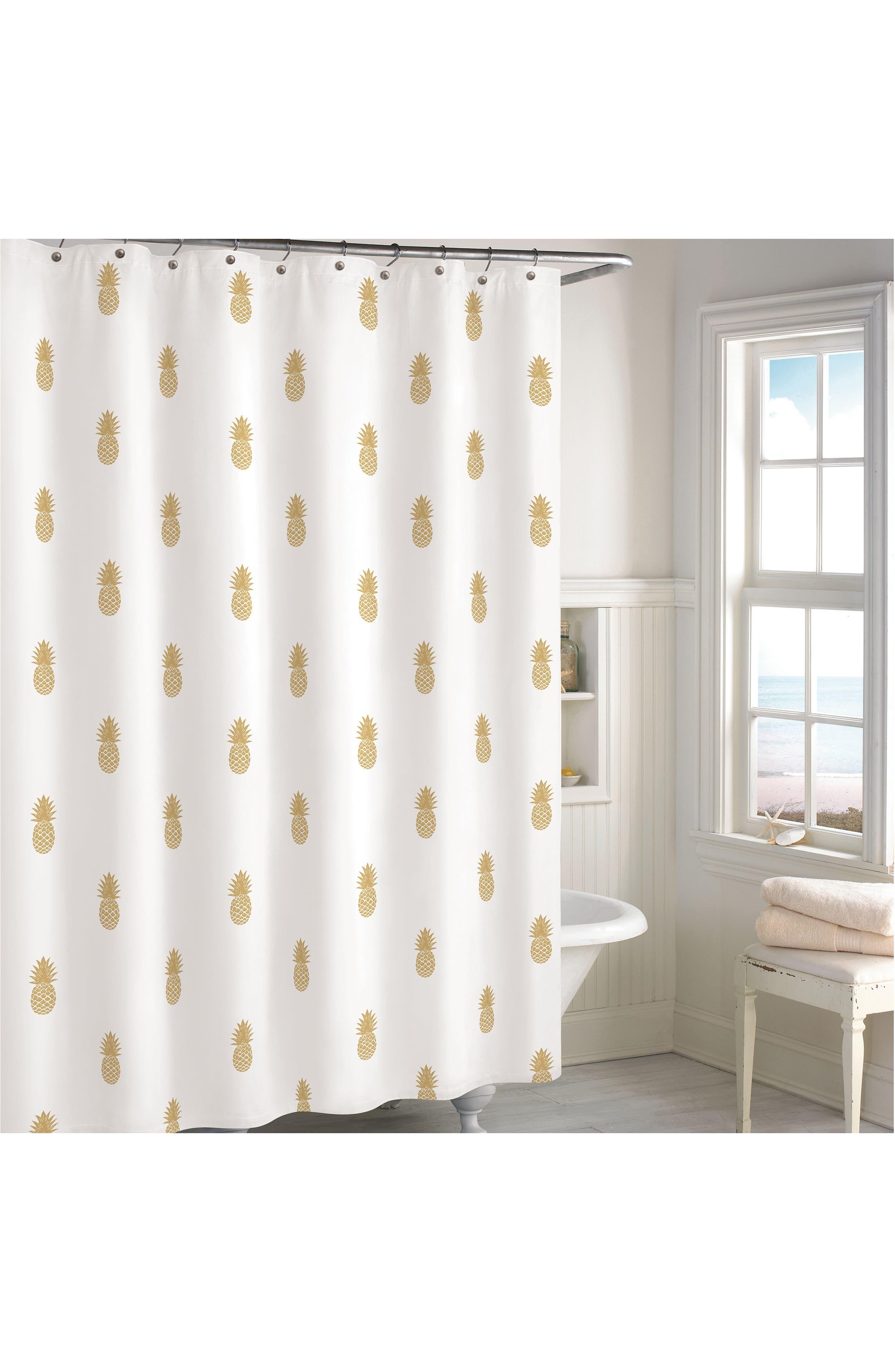 Main Image - Destinations Golden Pineapple Shower Curtain