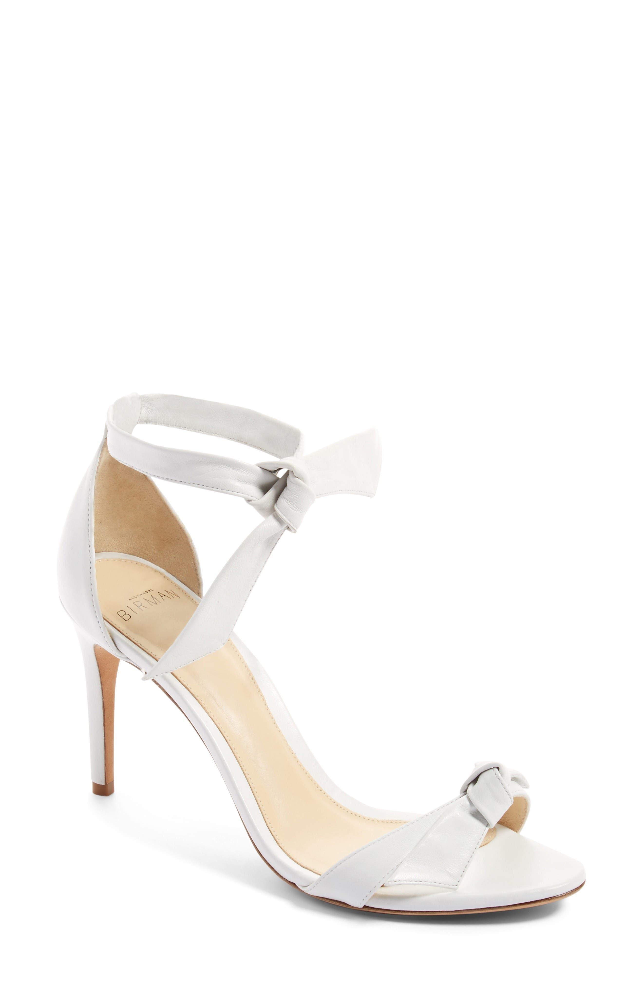Clarita Ankle Tie Sandal,                             Main thumbnail 1, color,                             White Leather
