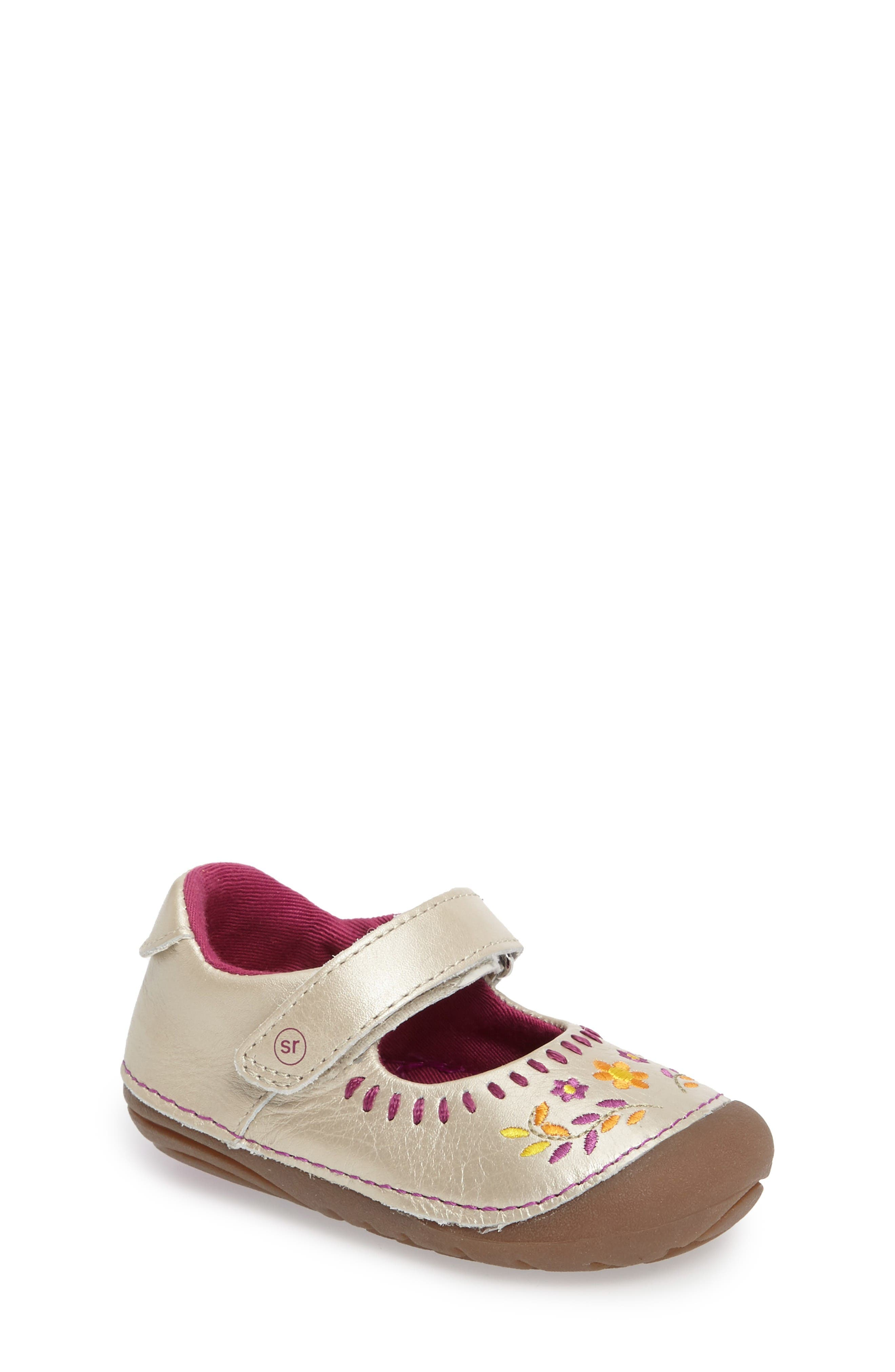 Main Image - Stride Rite Atley Flower Embroidered Mary Jane (Baby & Walker)