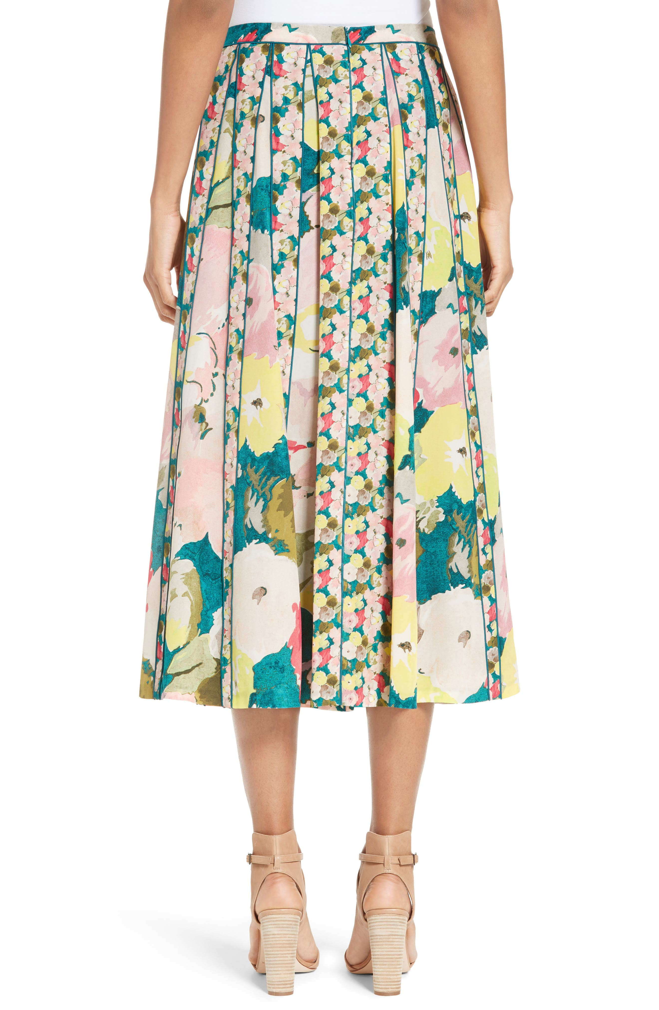 Alternate Image 2  - Lafayette 148 New York Adalia Pleated Floral Silk Skirt