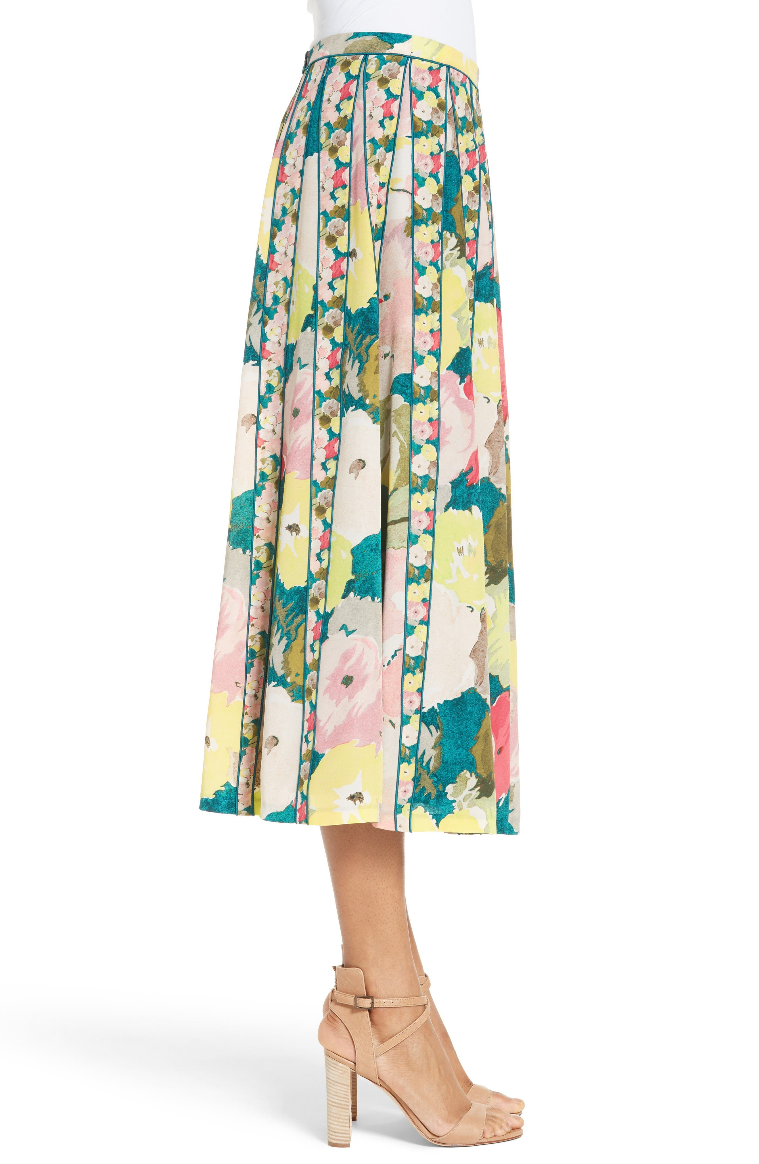 Alternate Image 5  - Lafayette 148 New York Adalia Pleated Floral Silk Skirt