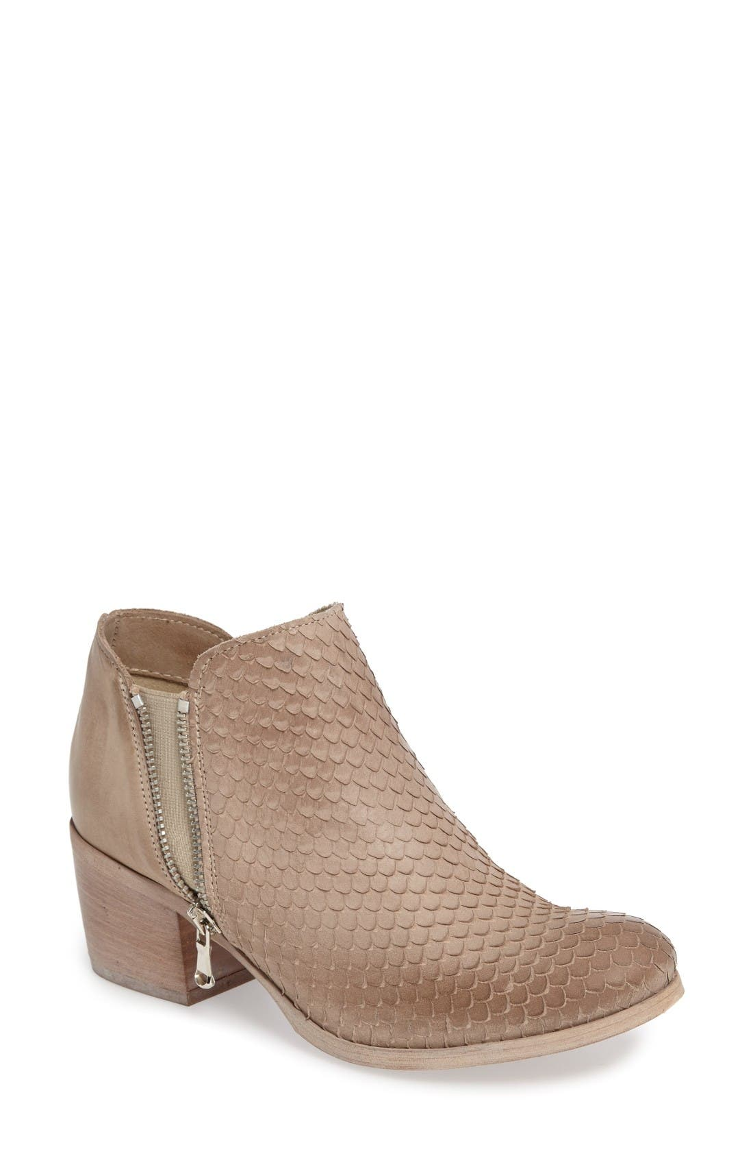 Cher Snake Embossed Bootie,                             Main thumbnail 1, color,                             Light Tan Printed Leather