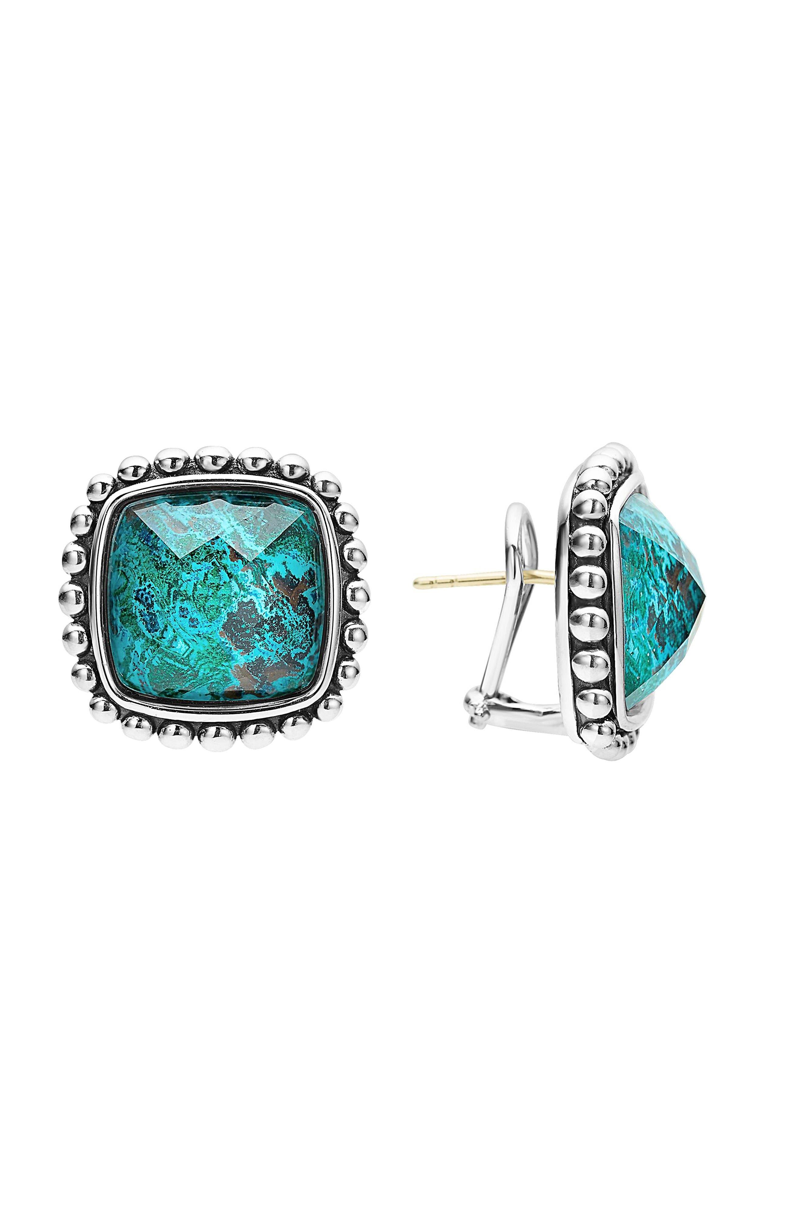 Maya Semiprecious Stone Stud Earrings,                             Main thumbnail 1, color,                             Chrysocolla