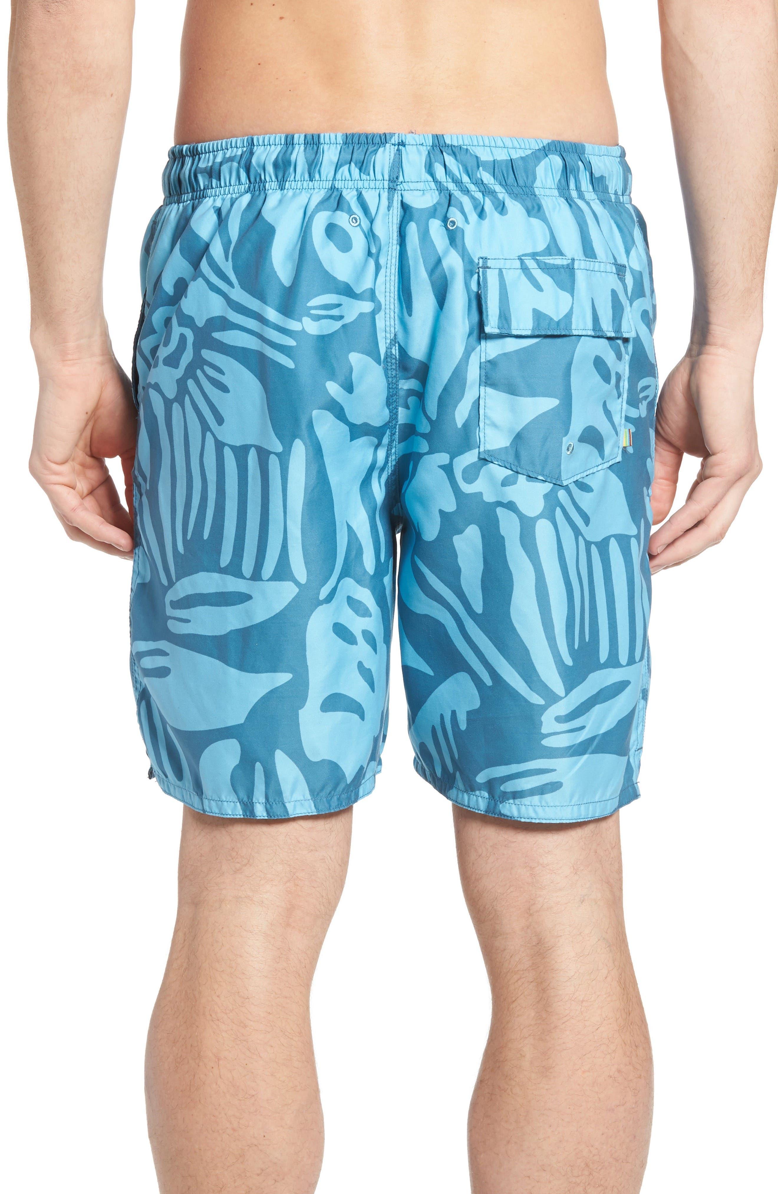 Viceroy Print Swim Trunks,                             Alternate thumbnail 2, color,                             Blue